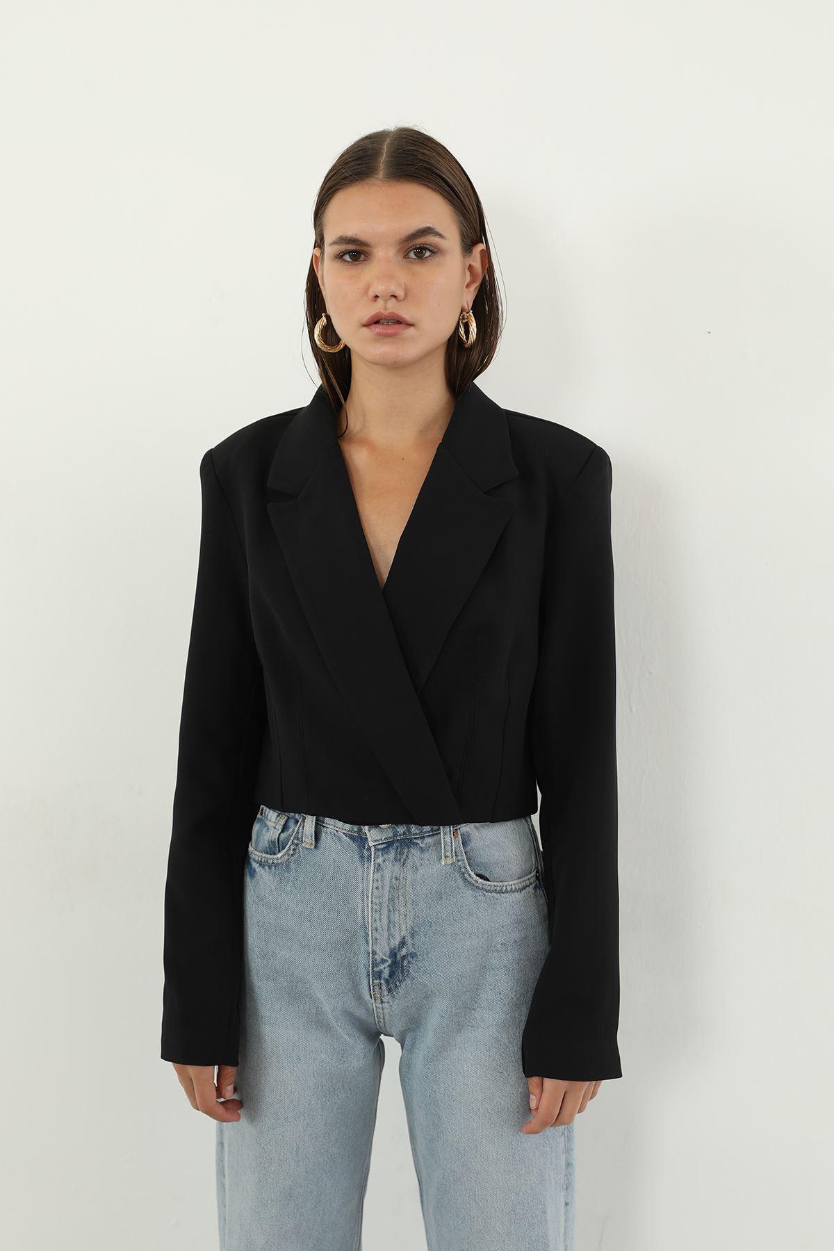Kruvaze Crop Ceket-Siyah