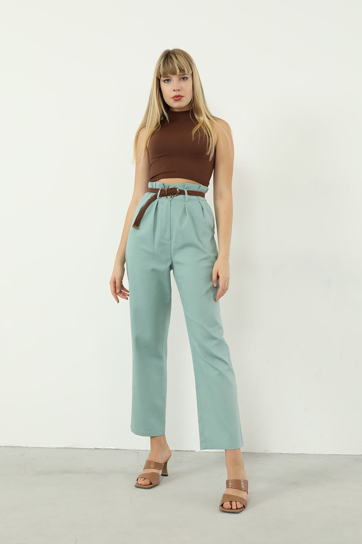Bel Detay Kemerli Pantolon-Mint