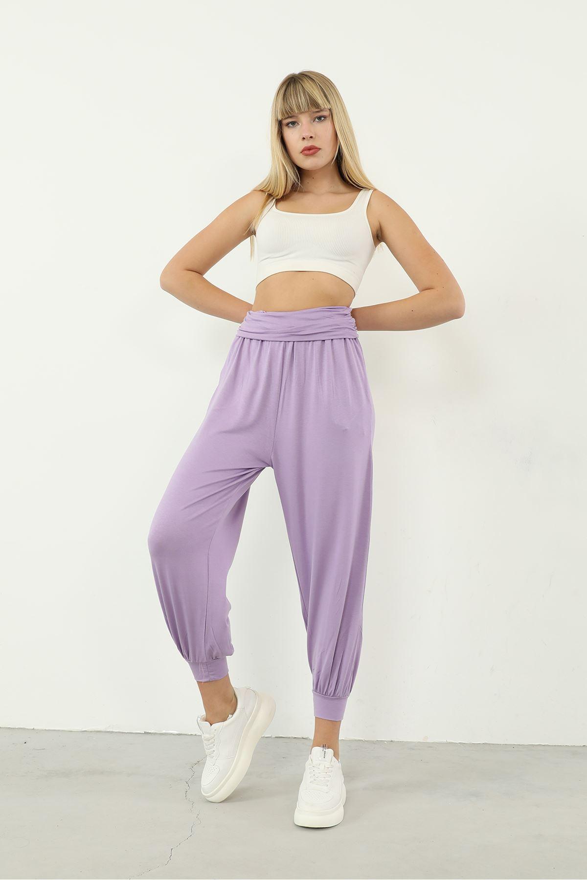 Paça Detay Pantolon-Lila