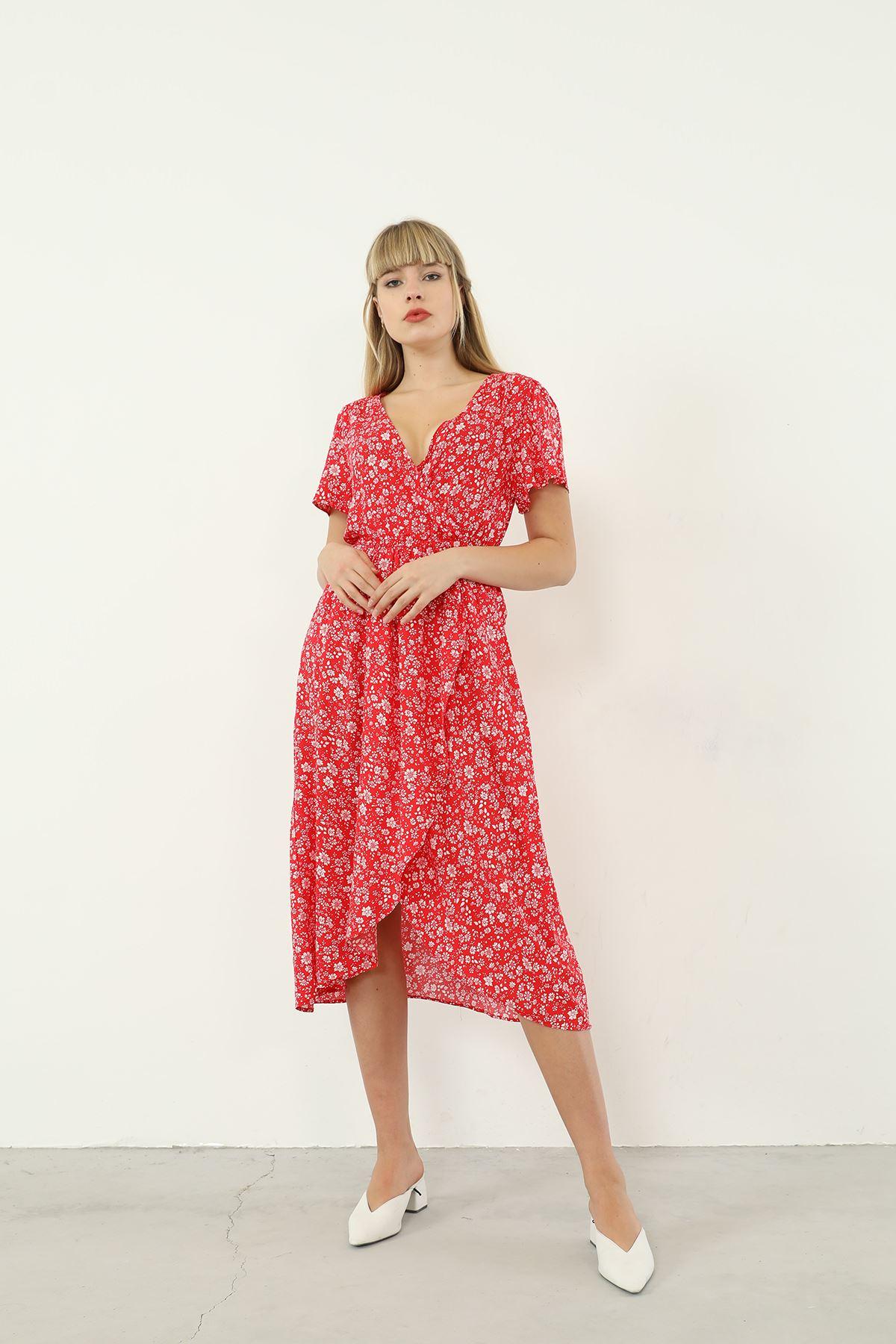 Kruvaze Yaka Desenli Elbise-Kırmızı