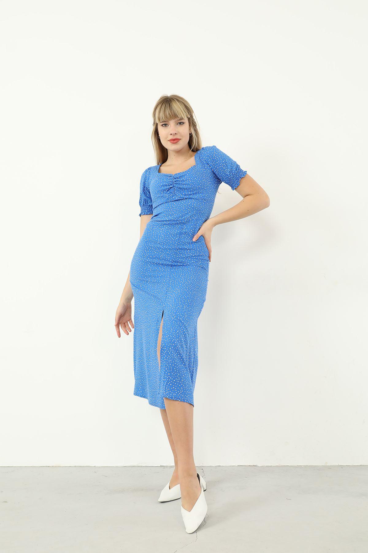 Kare Yaka Yırtmaçlı Elbise-Mavi