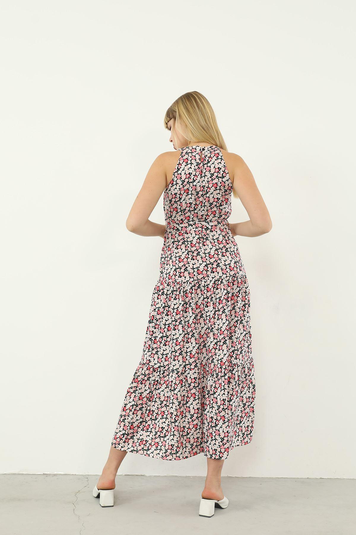 Halter Yaka Kuşaklı Elbise-Pudra