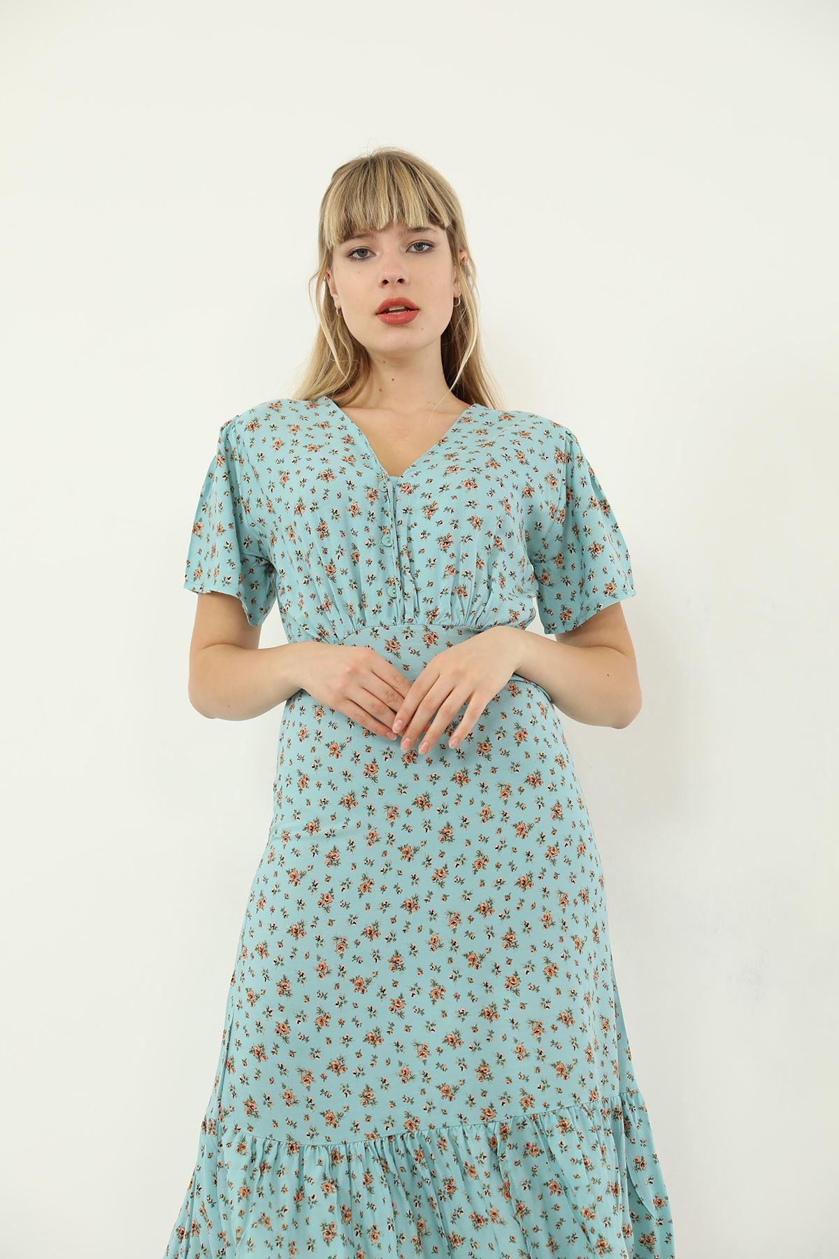 Düğmeli Salaş Elbise-Mavi