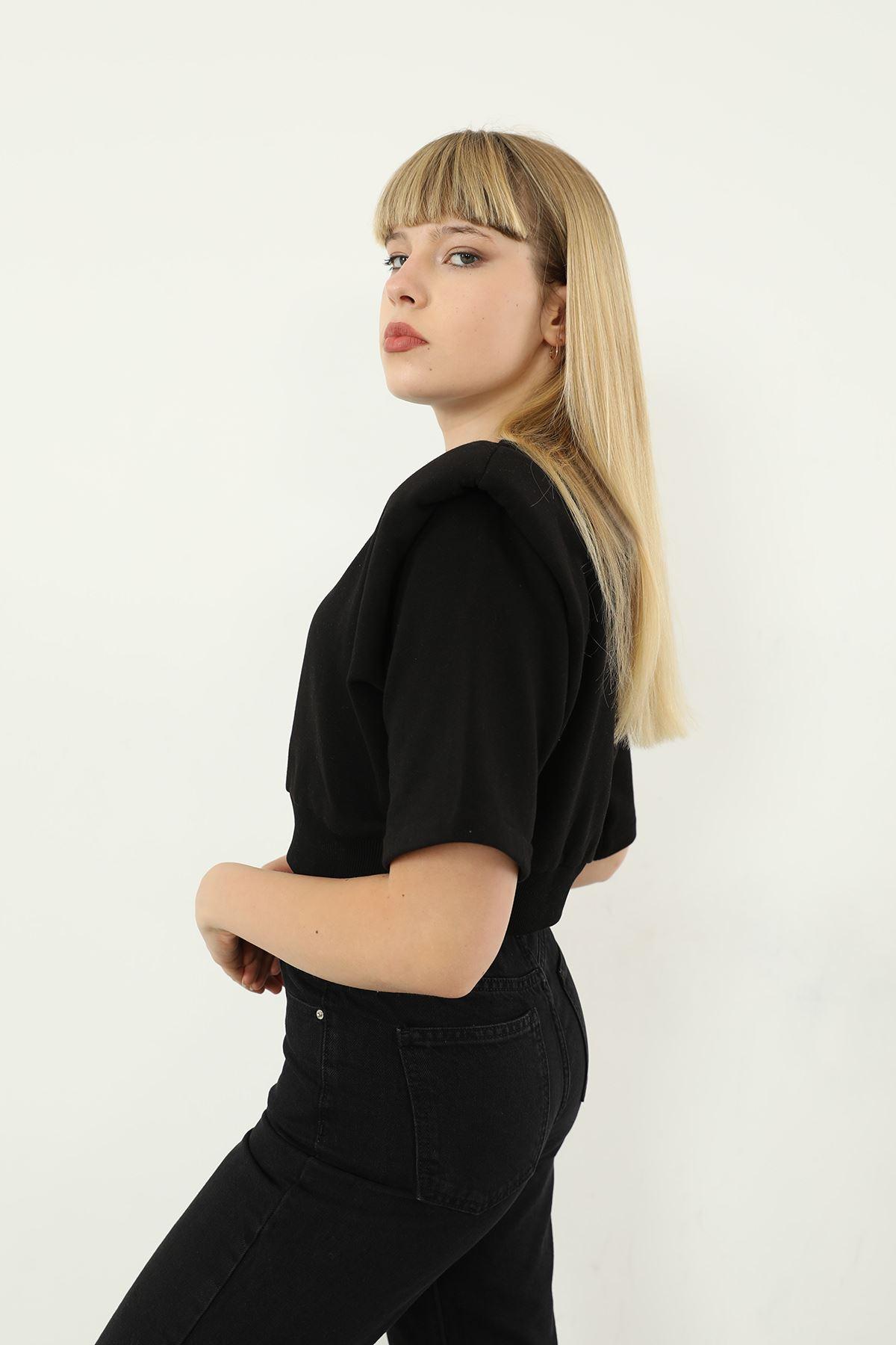 Vatkalı Kısa Kol Sweatshirt-Siyah