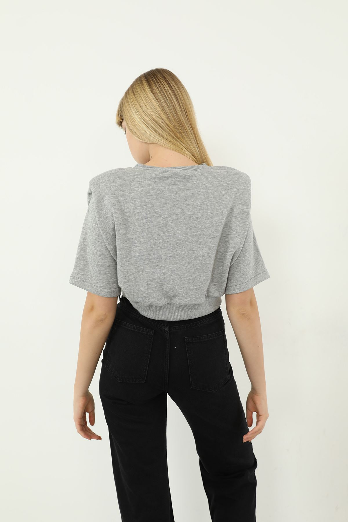 Vatkalı Kısa Kol Sweatshirt-Gri