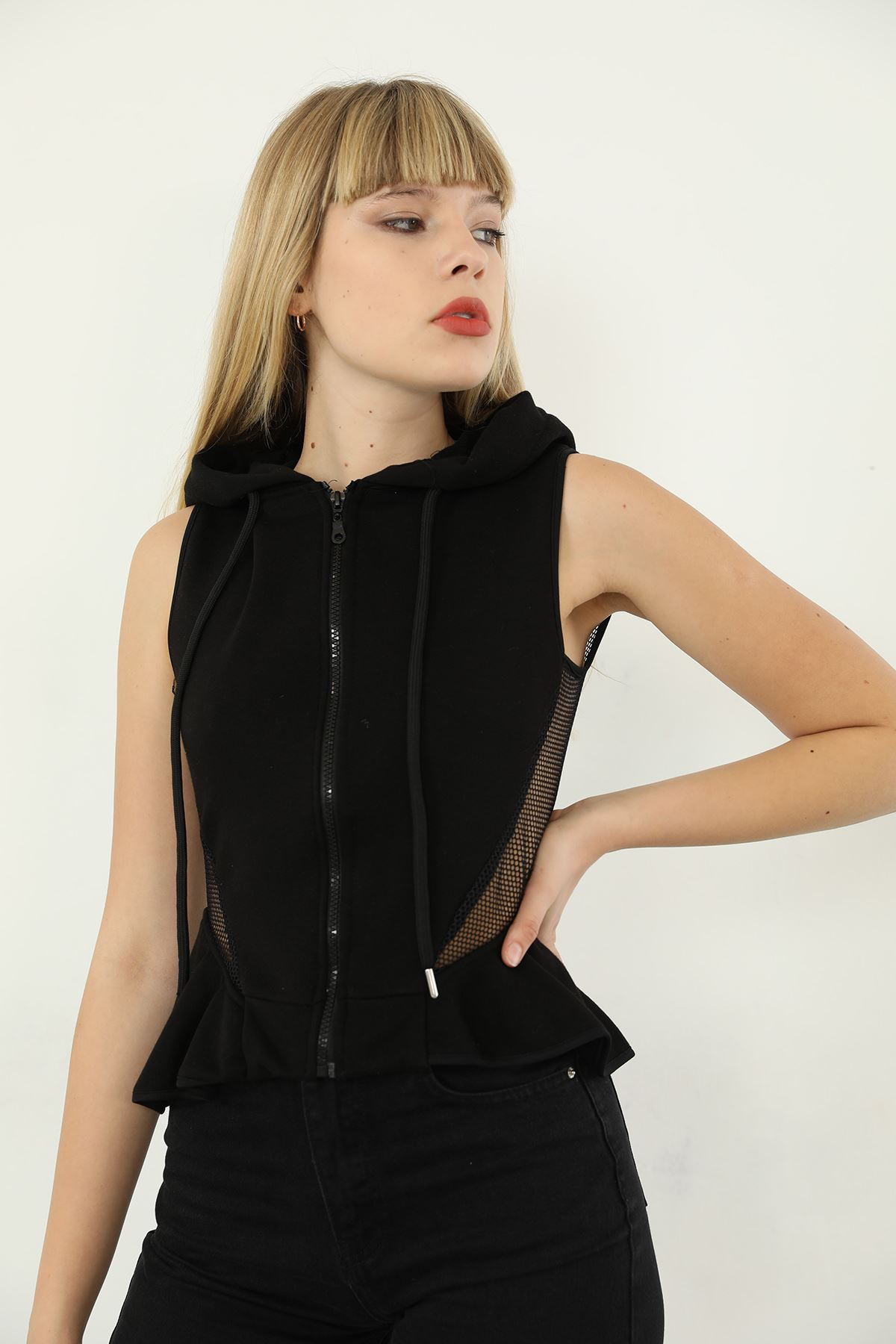File Detay Sweatshirt-Siyah