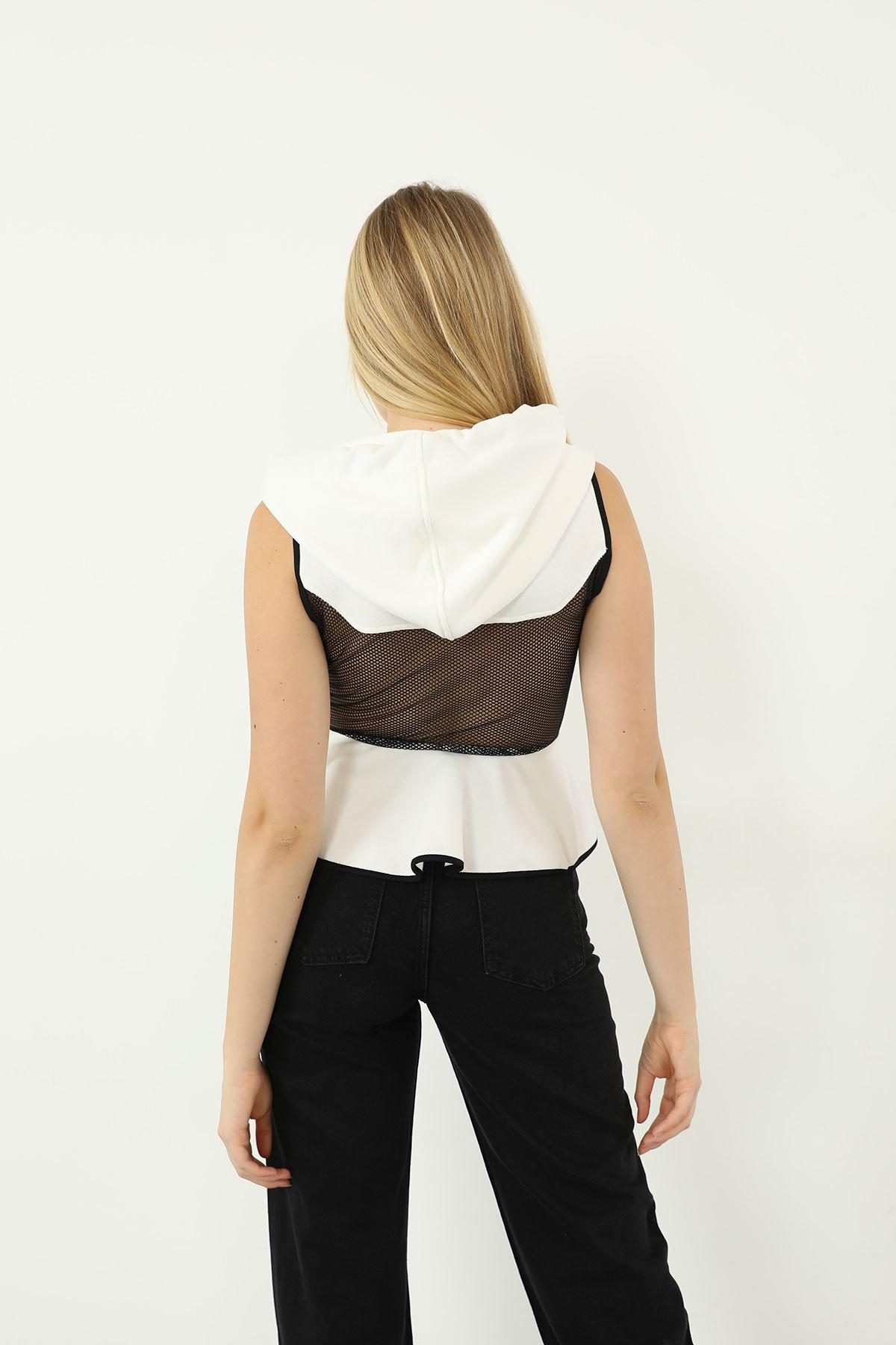 File Detay Sweatshirt-Beyaz