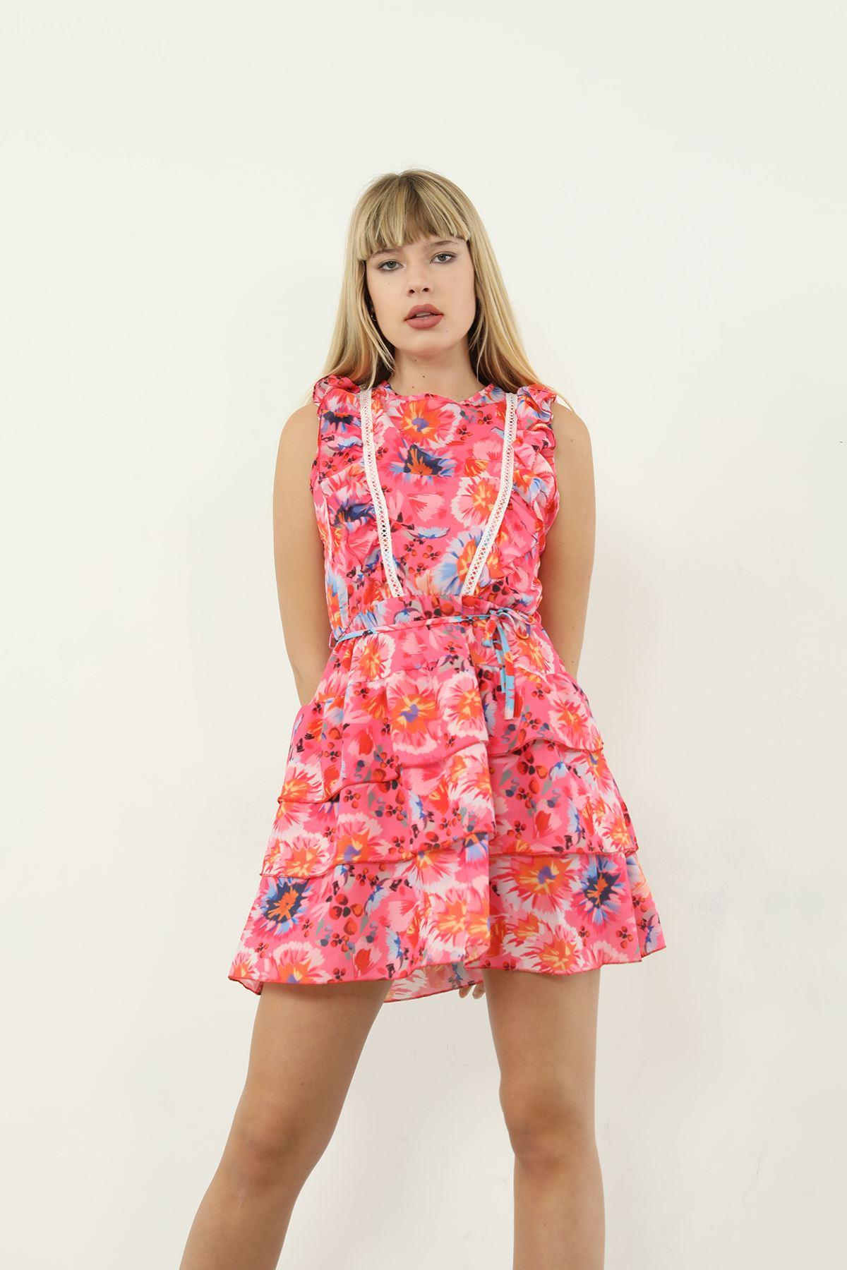 Çiçek Desen Şifon Elbise-Fuşya