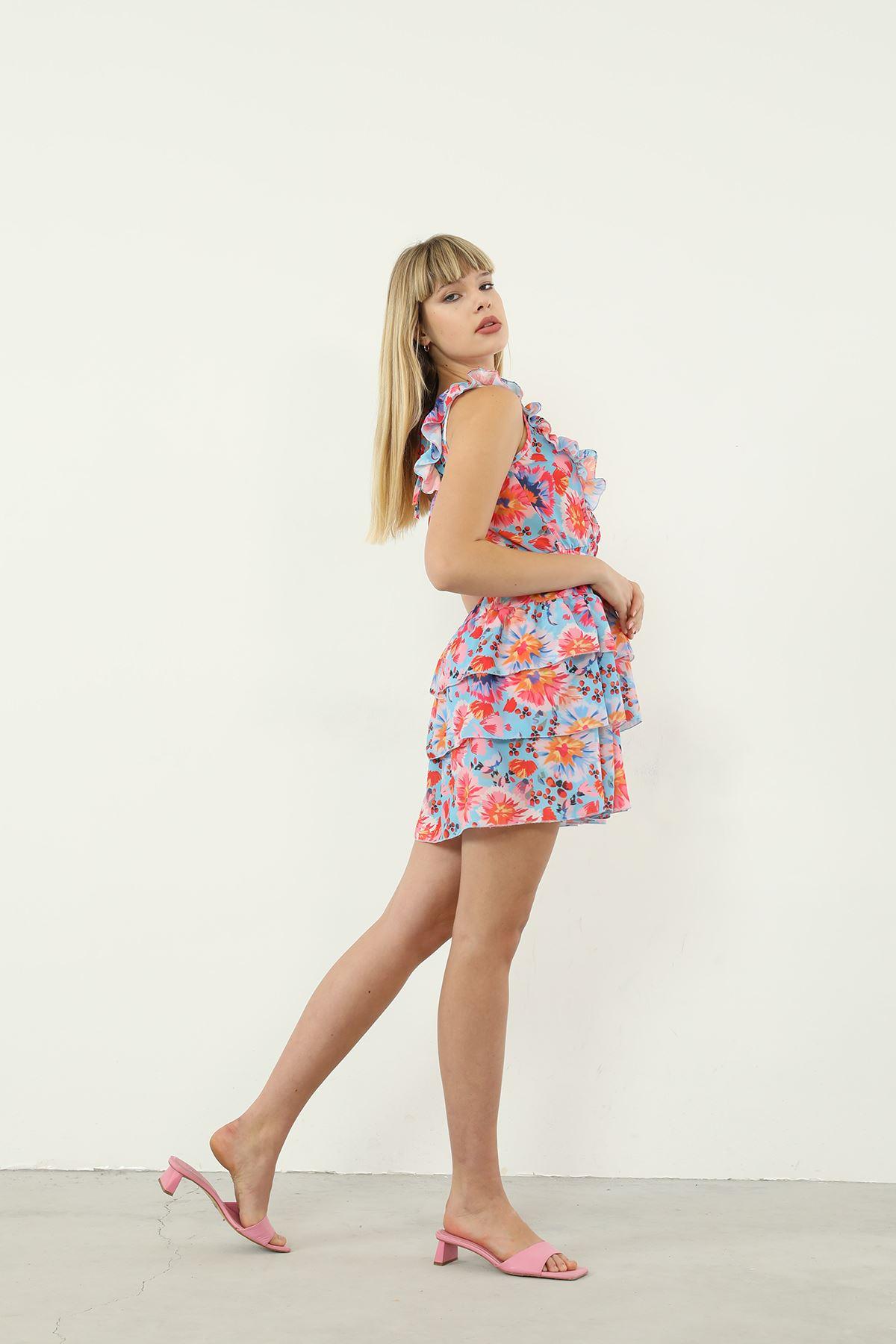 Çiçek Desen Şifon Elbise-Mavi
