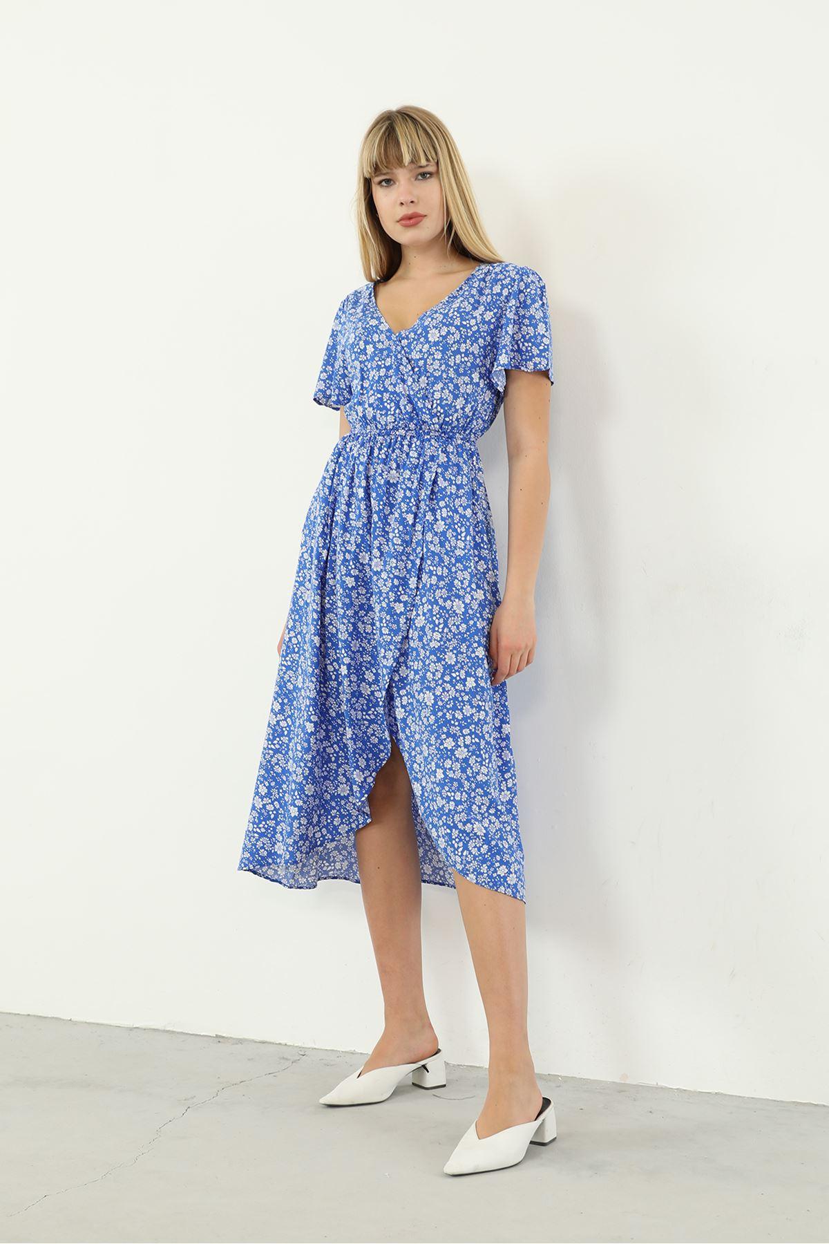 Kruvaze Yaka Desenli Elbise-Mavi
