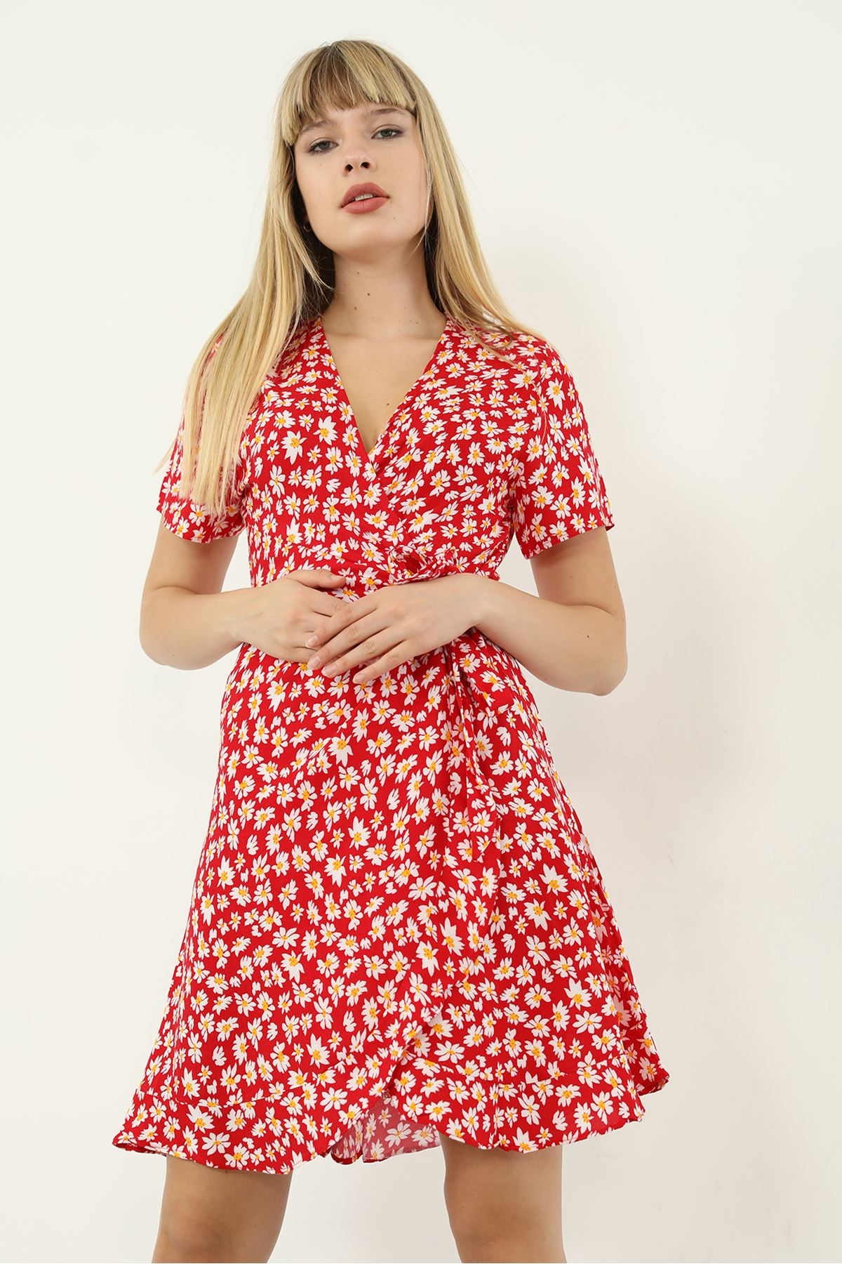 Papatya Desen Kuşaklı Elbise-Kırmızı