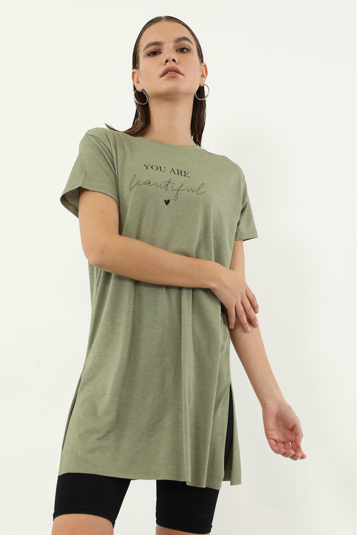 You Are Baskılı T-shirt-Haki