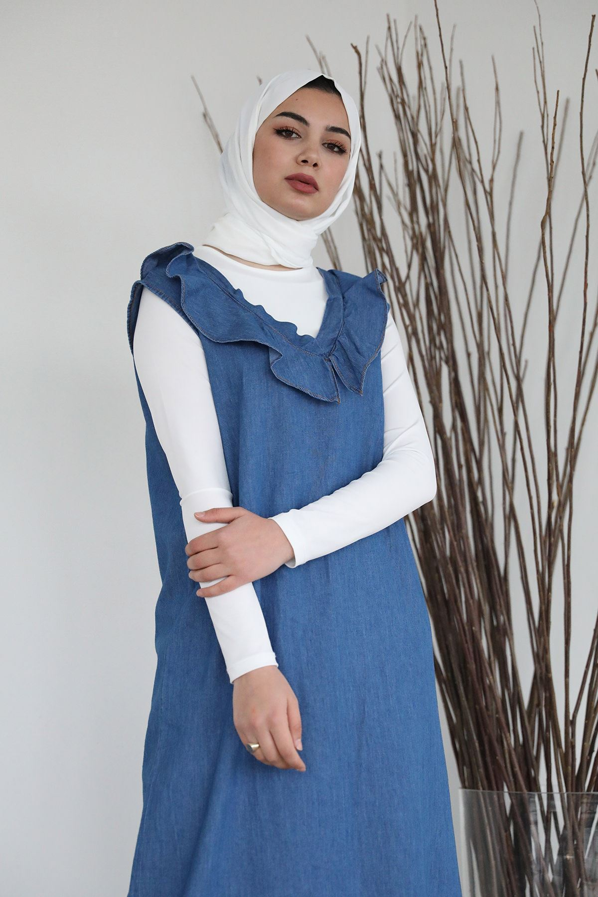 Fırfır Detay Kot Jile-Mavi