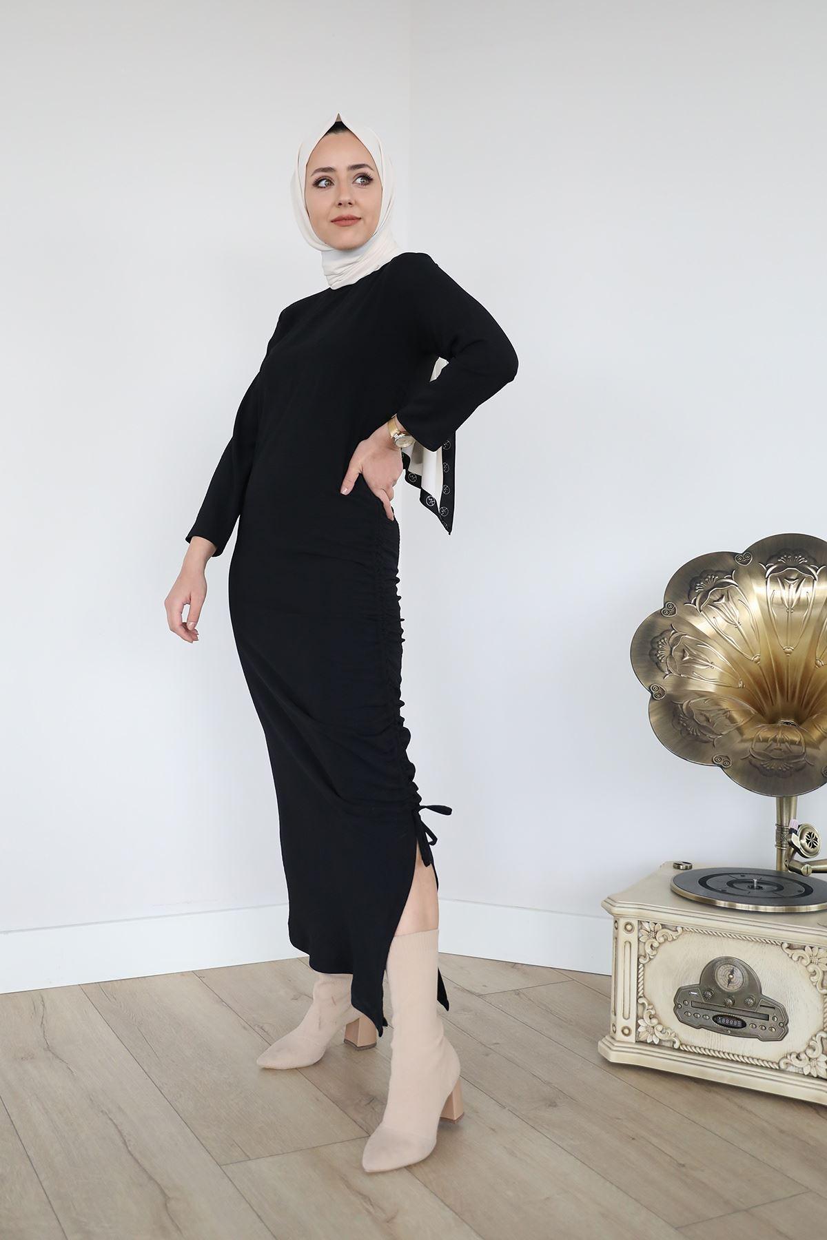Büzgü Detay Elbise-Siyah