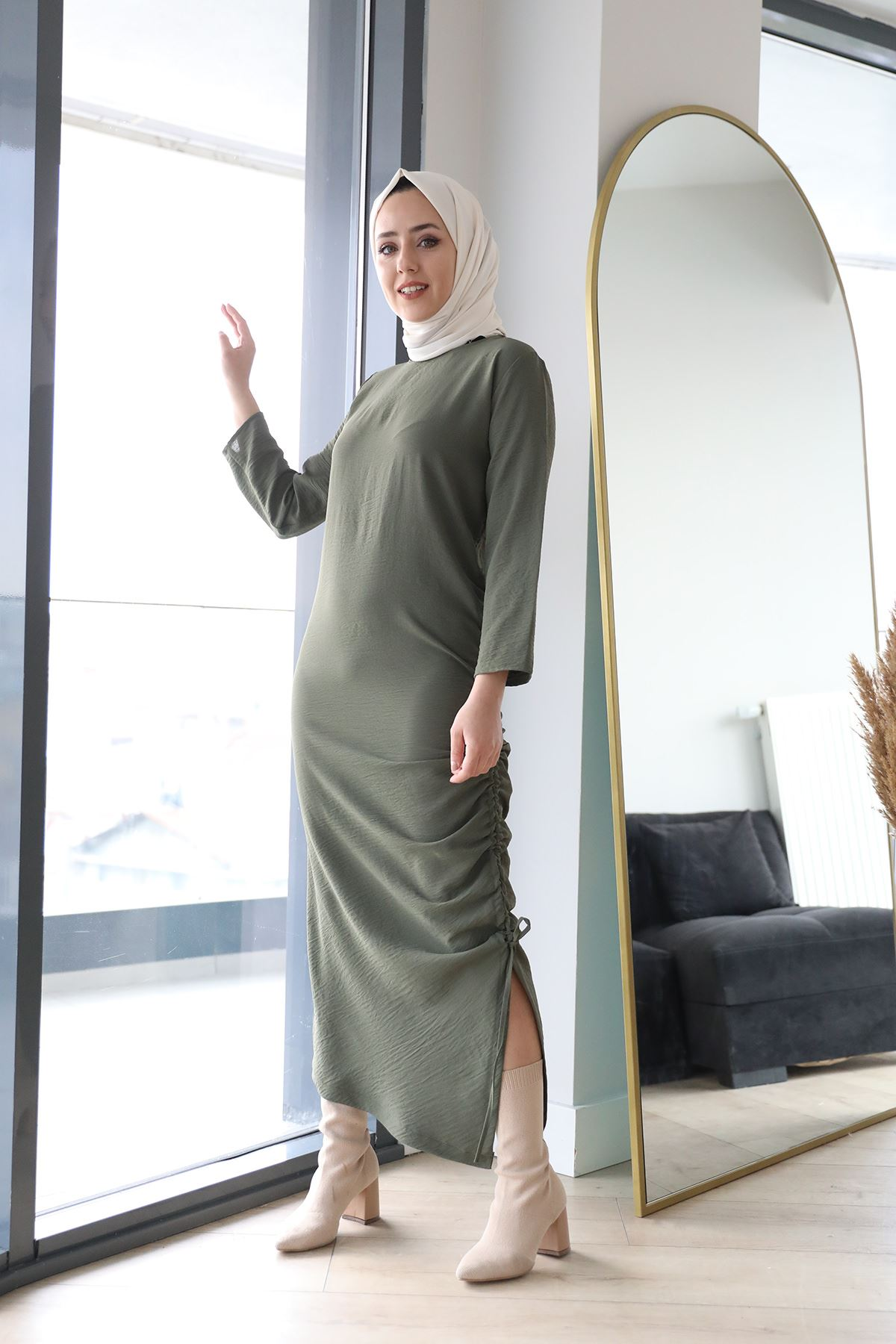 Büzgü Detay Elbise-Haki