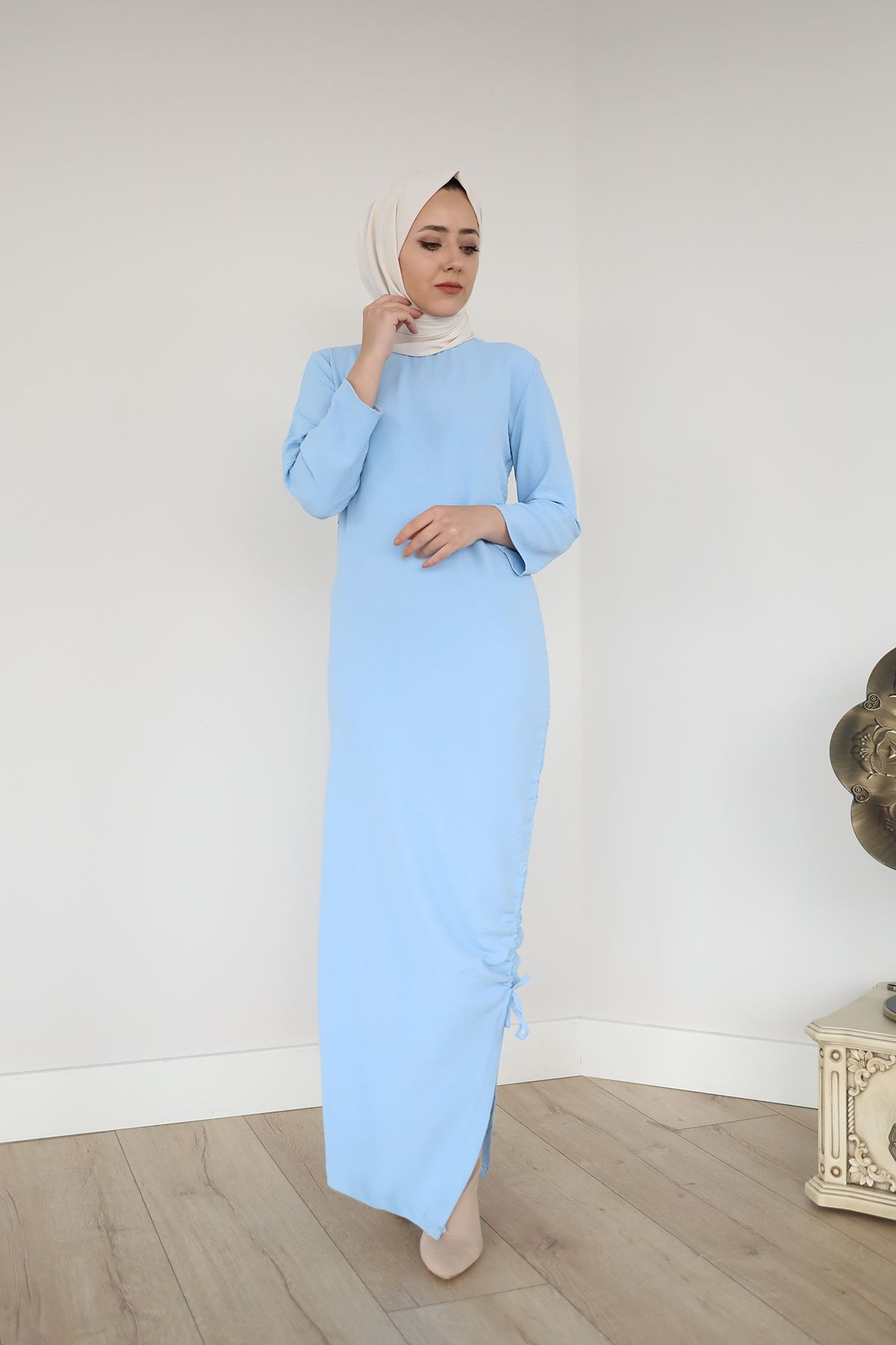Büzgü Detay Elbise-Mavi