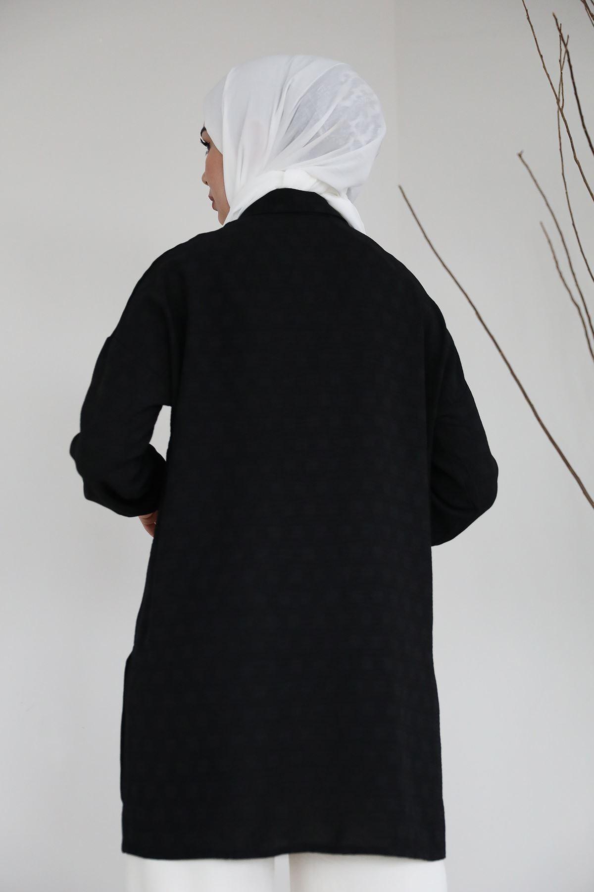 Aerobin Oversize Gömlek-Siyah