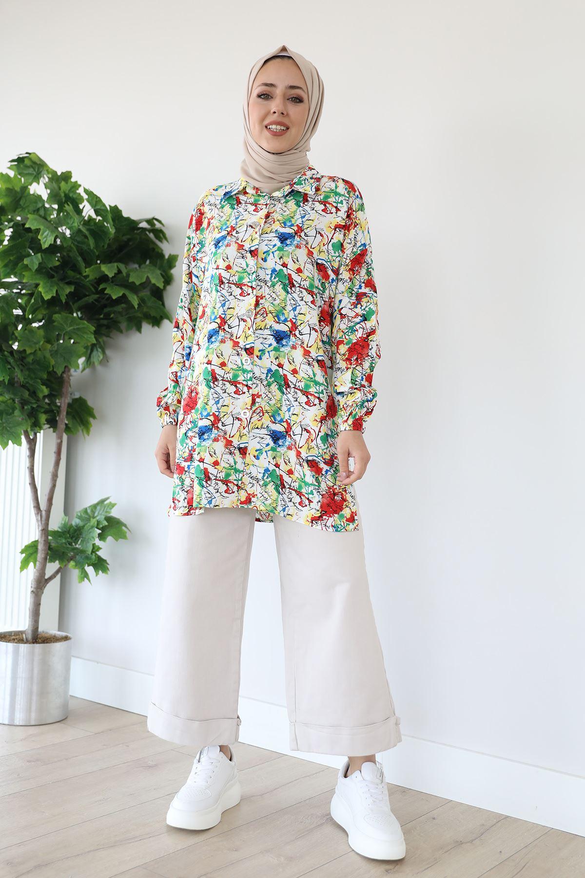 Çiçekli Gömlek-Yeşil