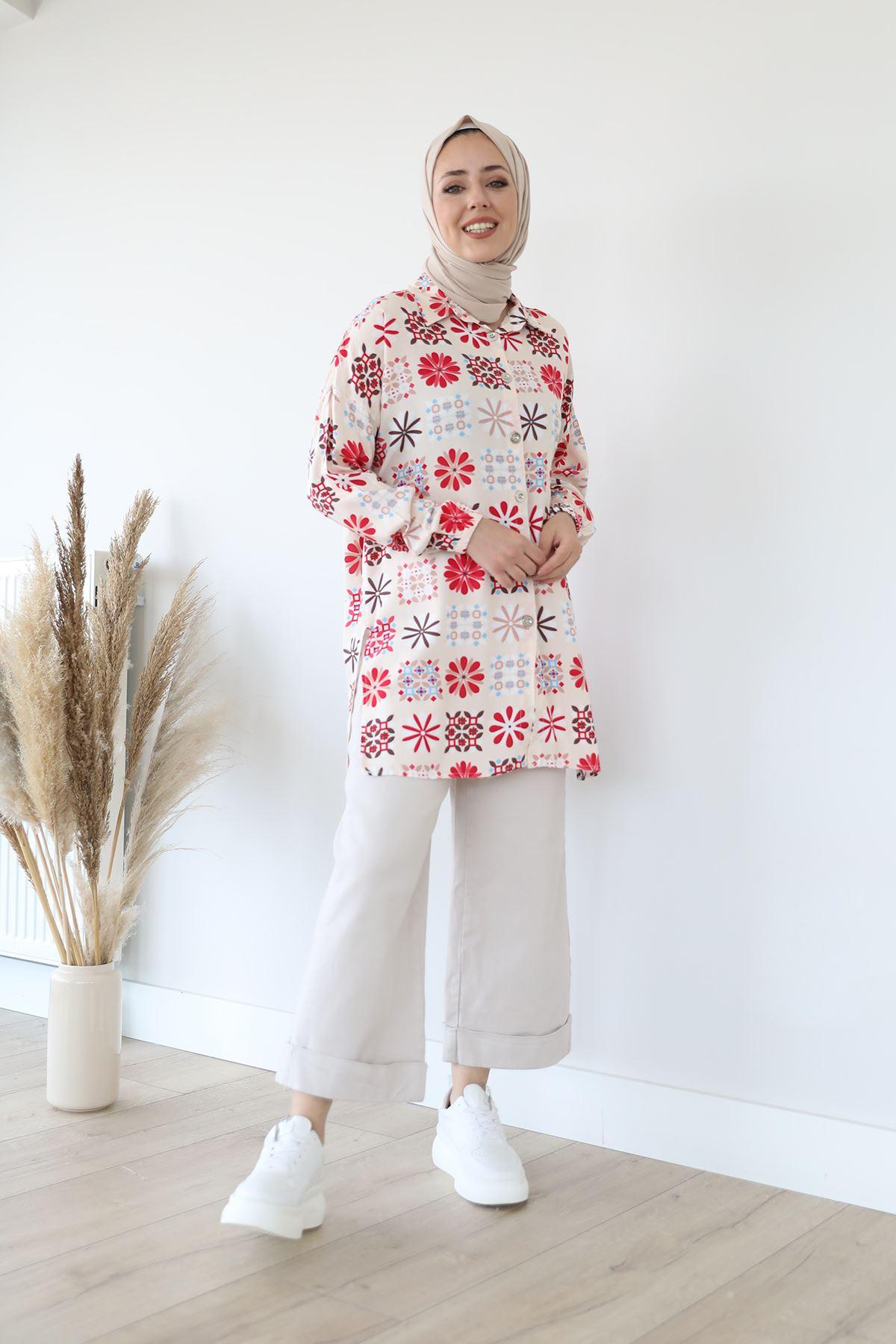 Çiçek Desen Gömlek-Bej