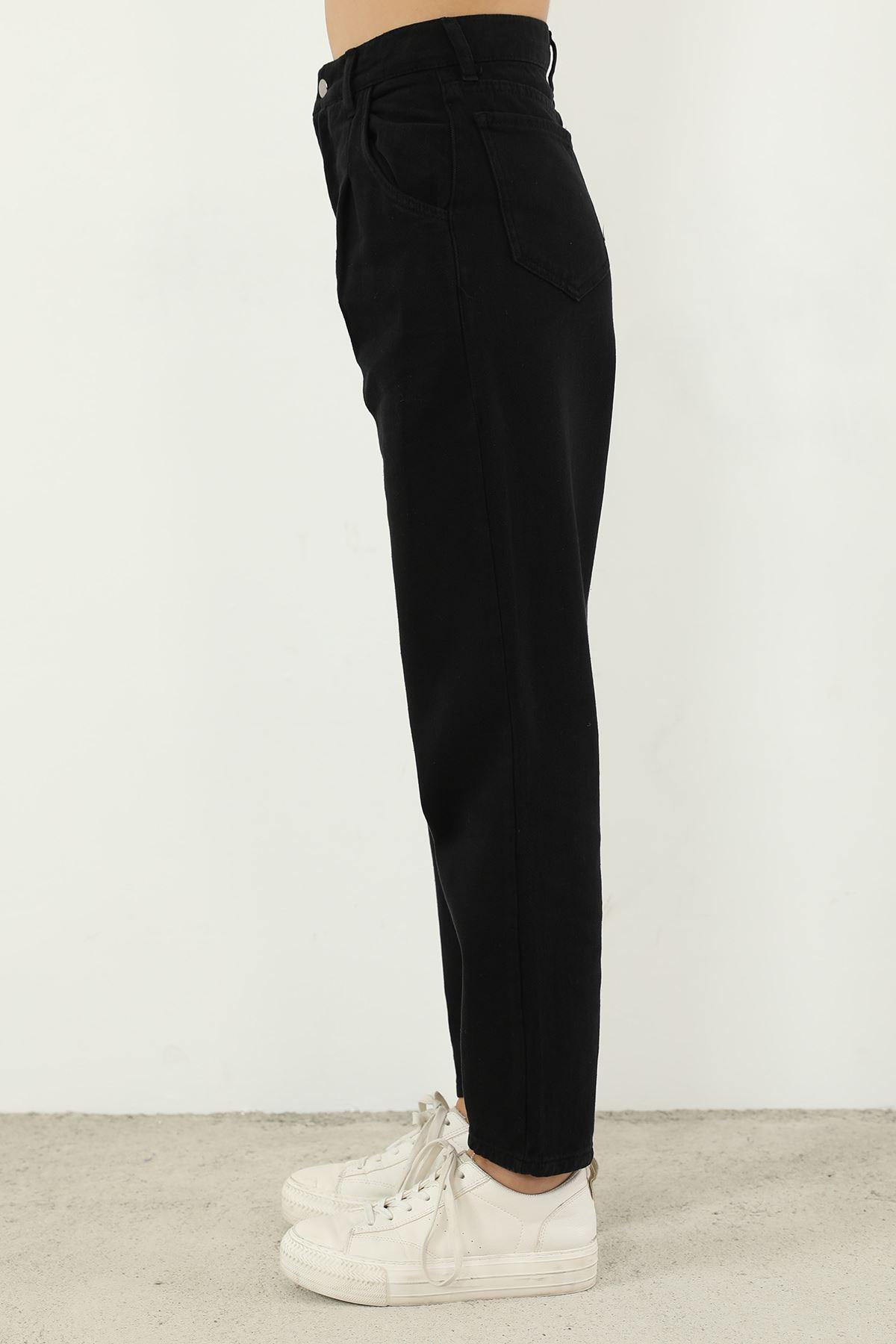 Pileli Mom Jean Pantolon-Siyah