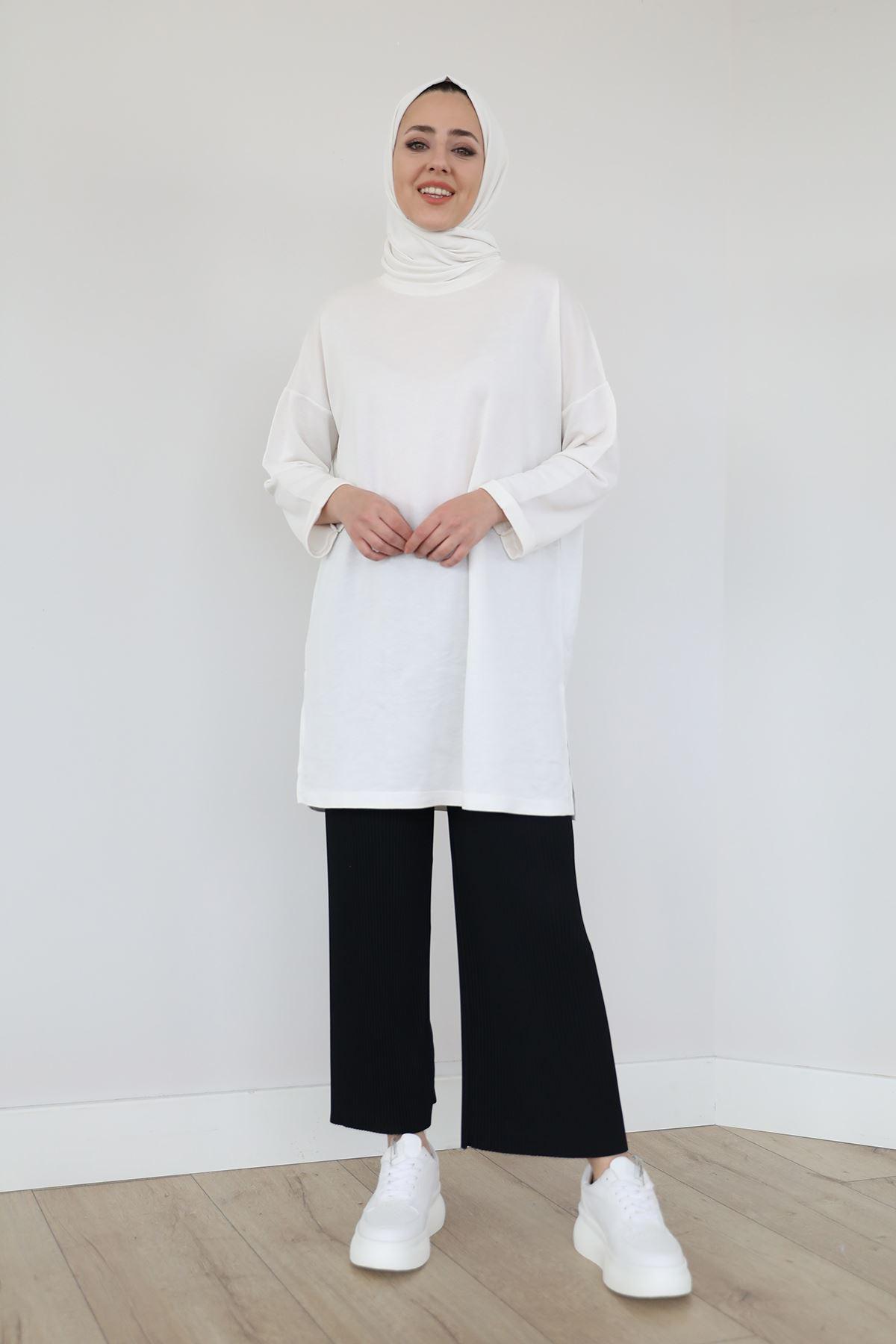 Piliseli Pantolon-Siyah