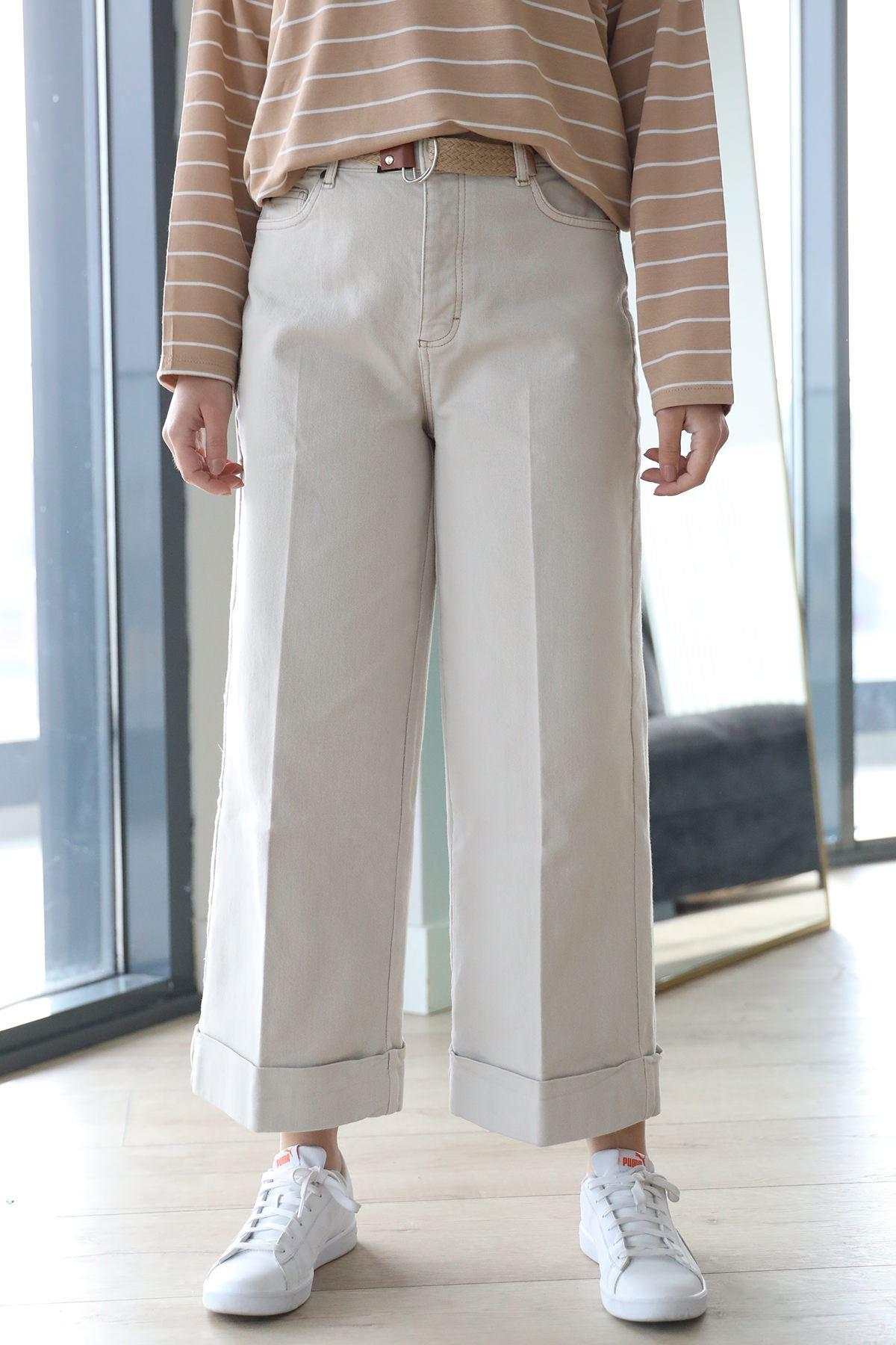 Duble Paça Pantolon-Taş