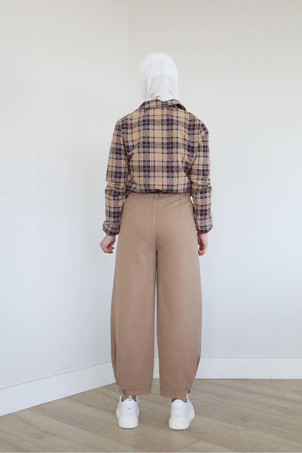 Paçası Düğmeli Pantolon-Camel