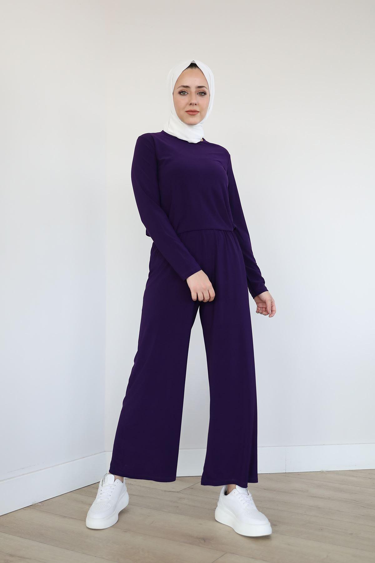 Lastikli Salaş Sendy Pantolon-Mürdüm