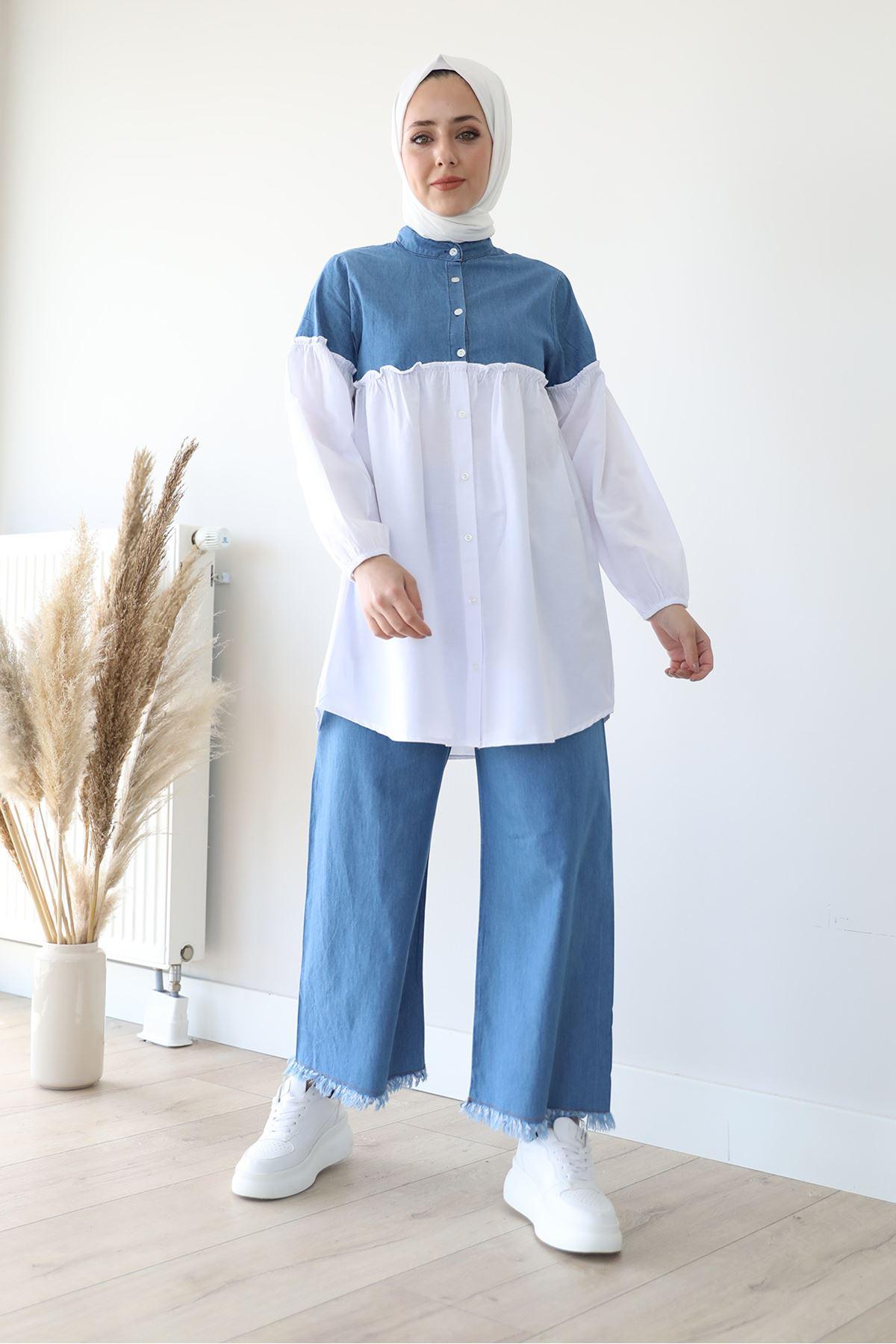Paçası Püskül Pantolon-Mavi