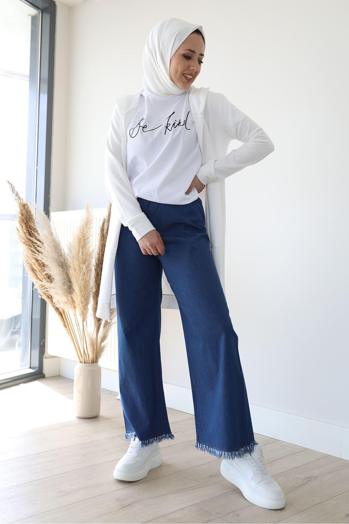 Paçası Püskül Pantolon-Koyu Mavi