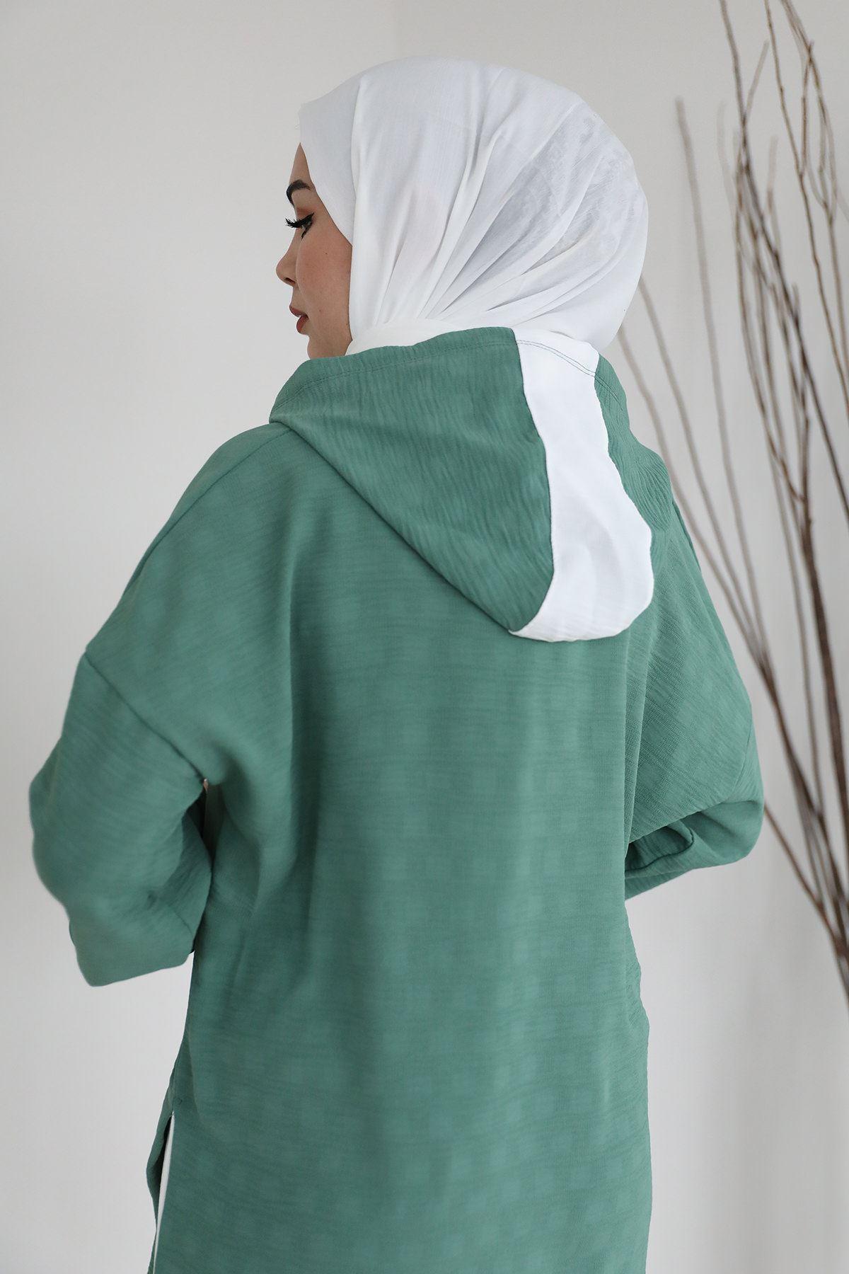 Yan Yırtmaç Detay Sweatshirt-Yeşil