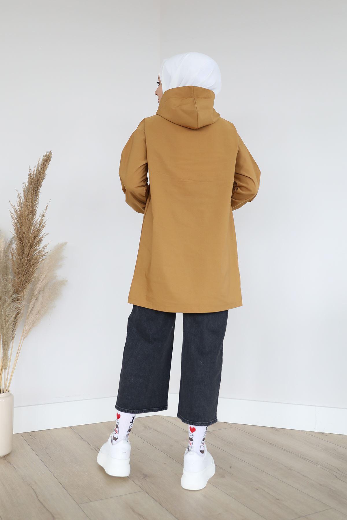 Fermuarlı Sweatshirt-Taba