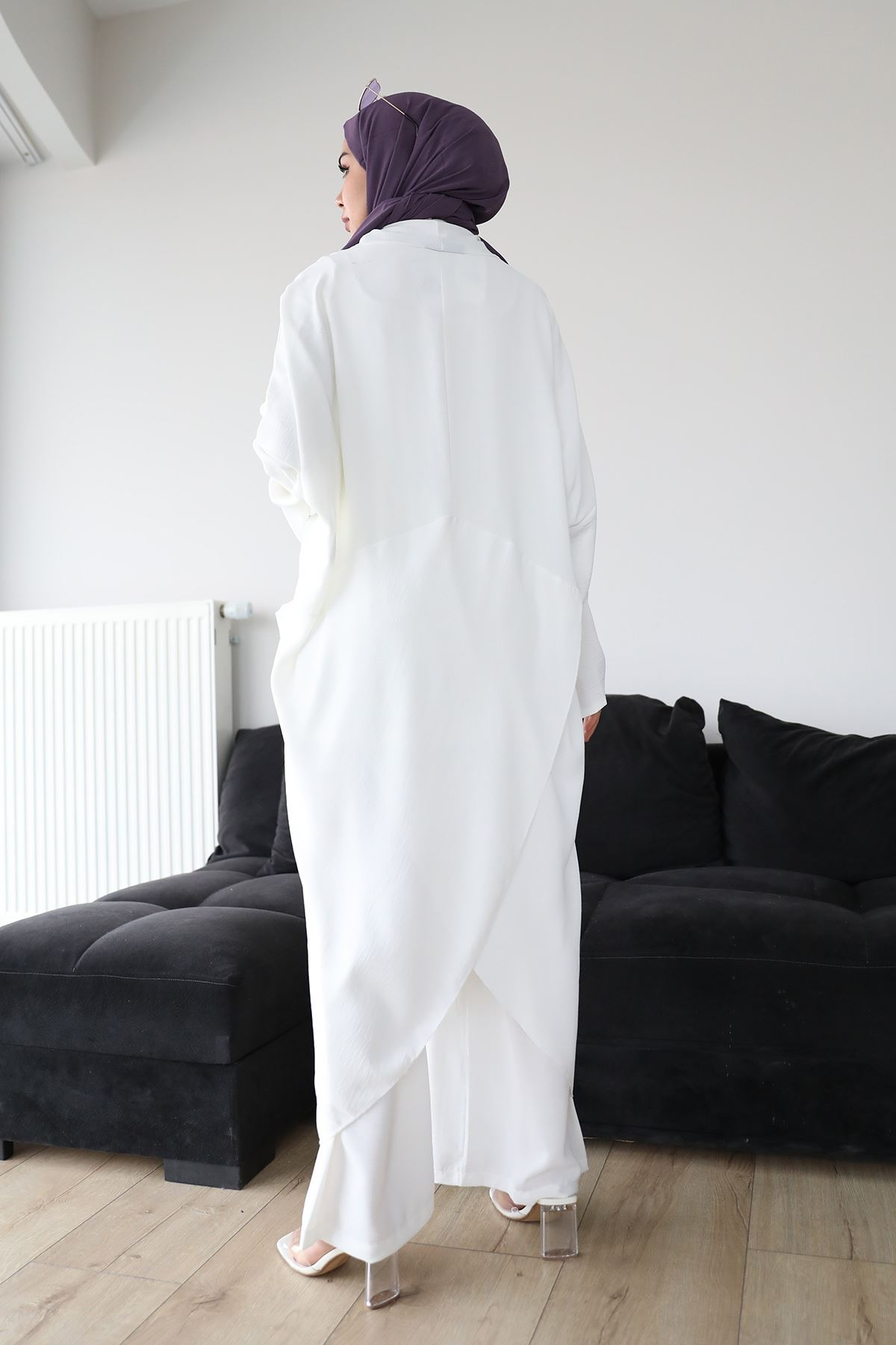 Çapraz Tunik Pantolon Takım-Ekru