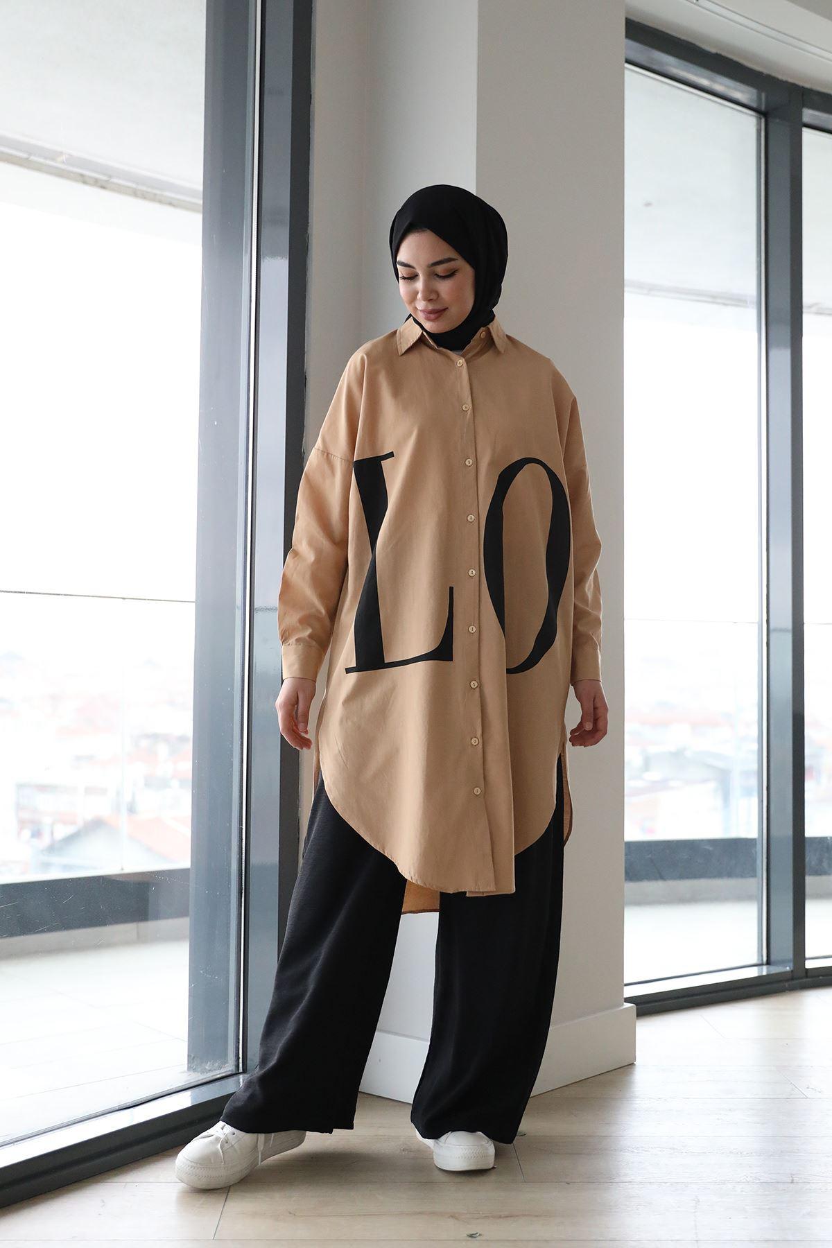 Love Yazılı Tunik-Camel