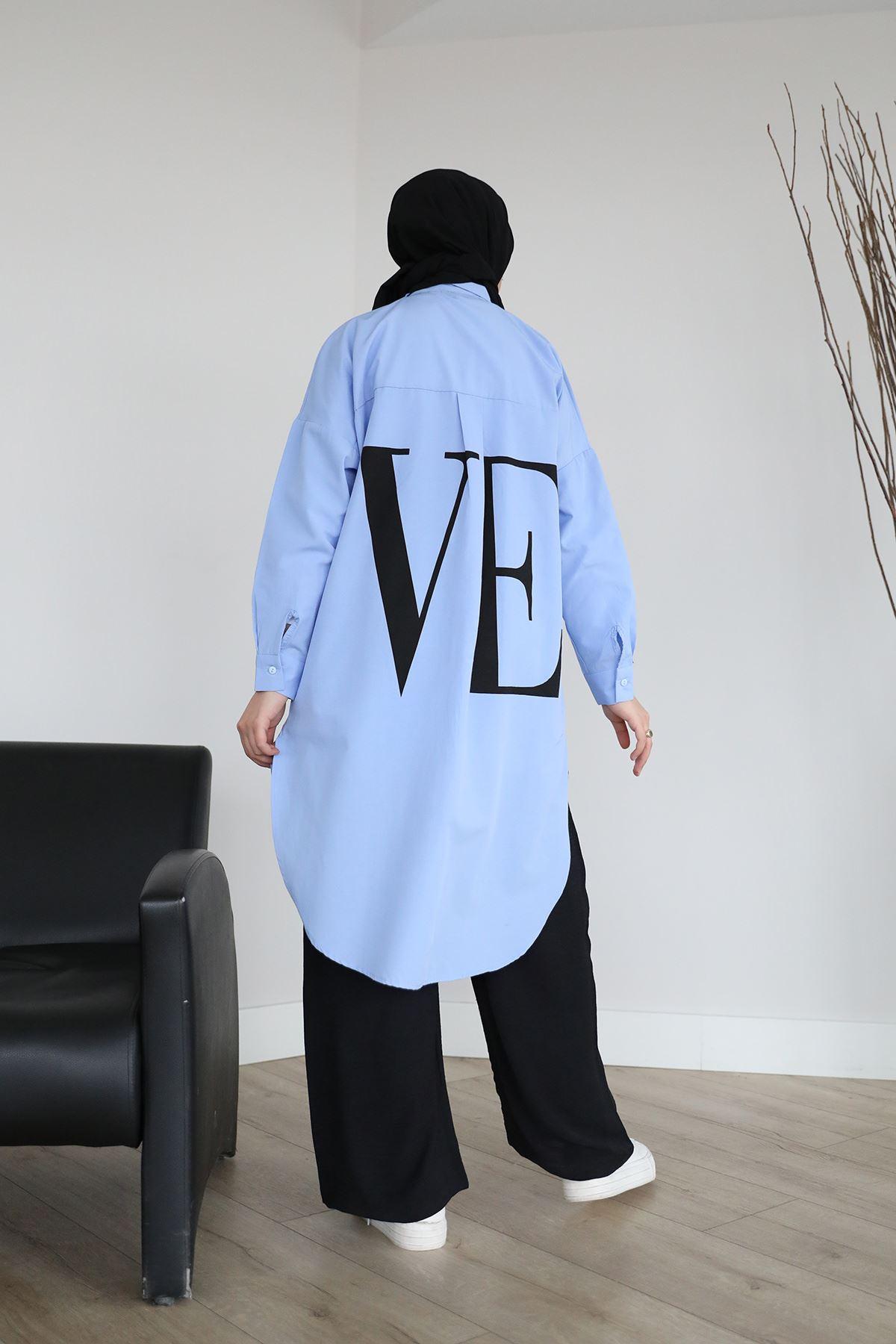 Love Yazılı Tunik-Mavi