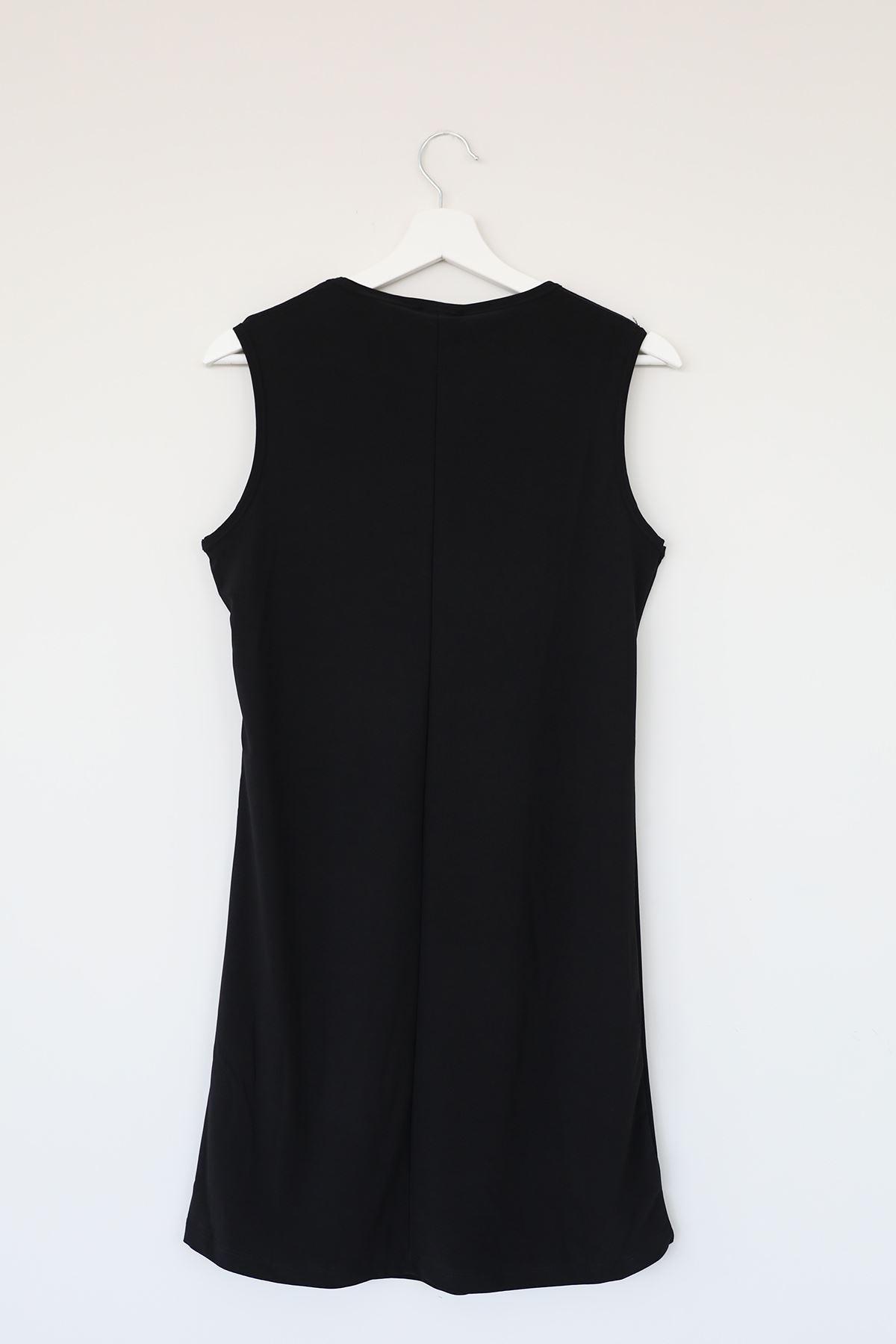 Sıfır Kol Kısa Sendy Tunik-Siyah