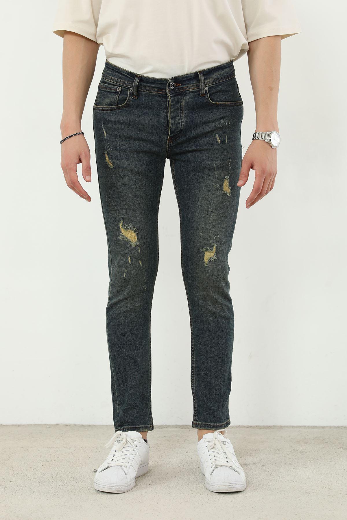 Skinny Jean Erkek Pantolon-Koyu Mavi
