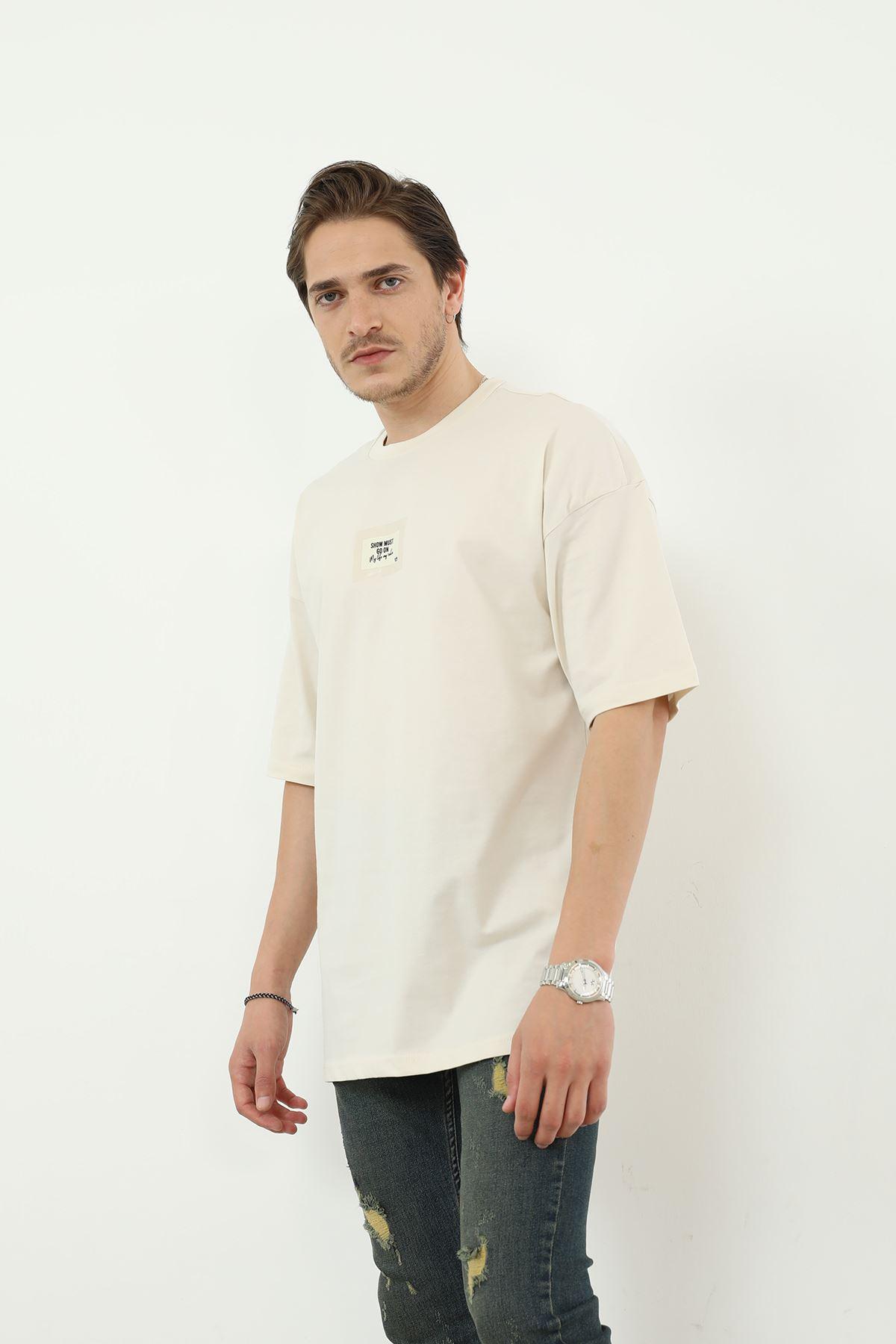Baskılı Erkek T-shirt-Taş