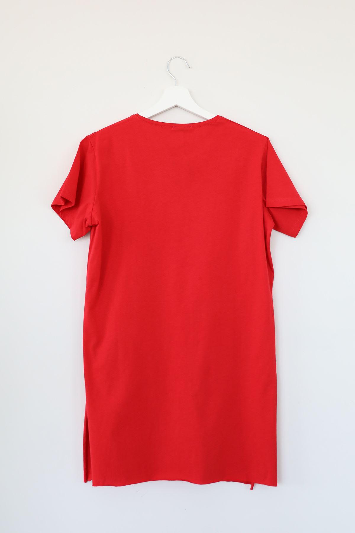 Kısa Kol Uzun Tunik-Kırmızı