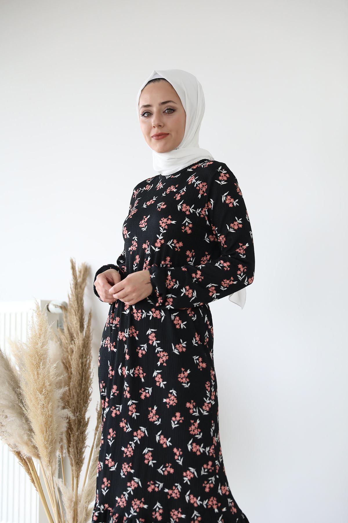 Eteği Fırfırlı Elbise-Siyah