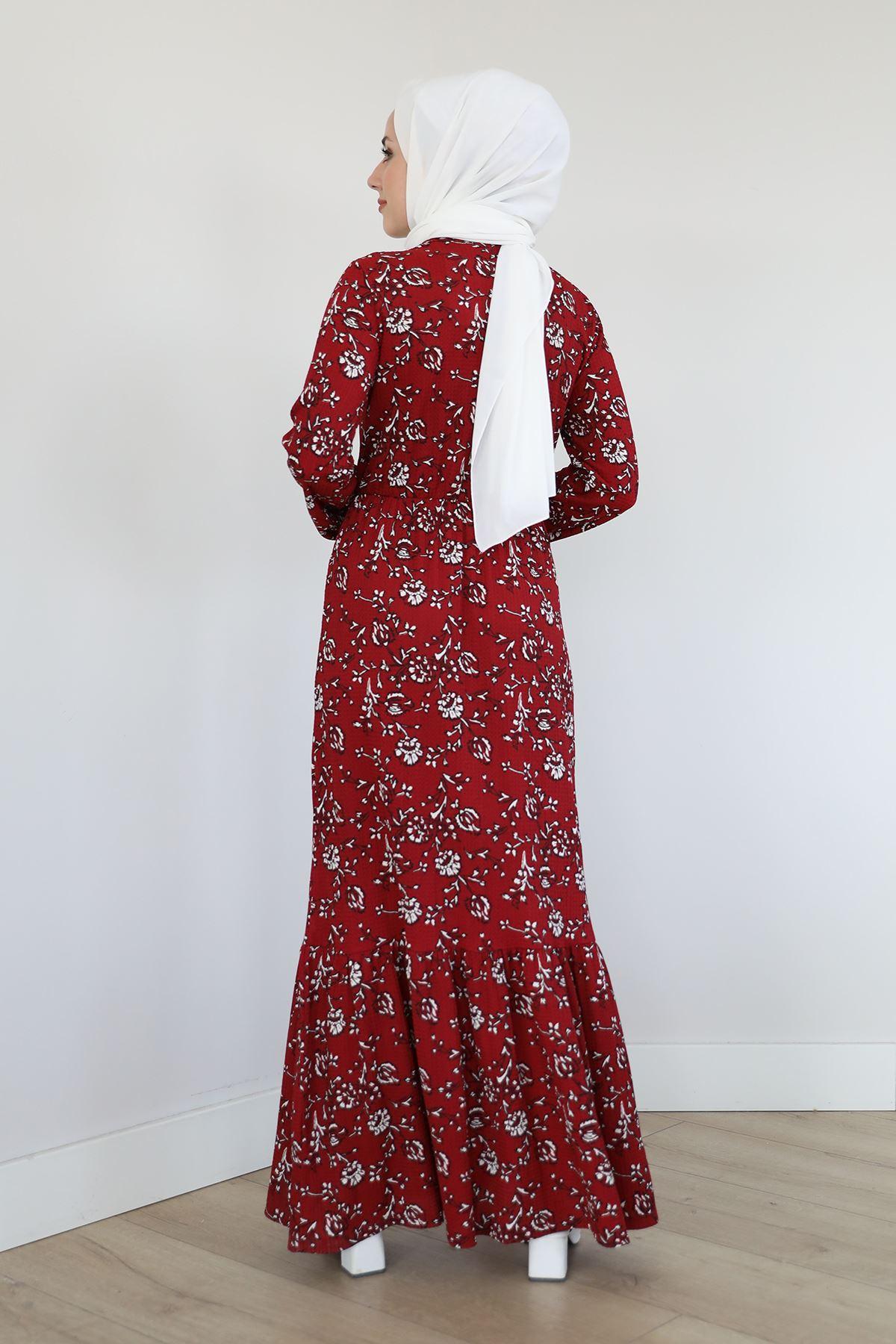 Eteği Fırfırlı Elbise-Bordo