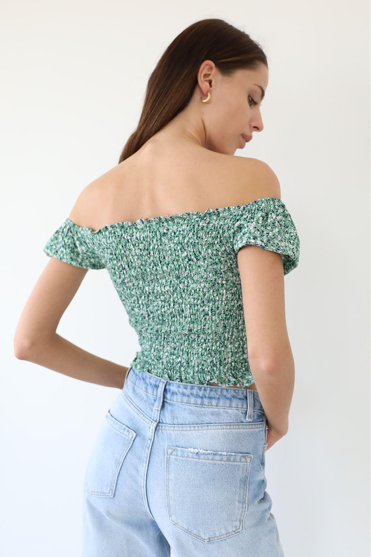 Çiçek Desen Gipeli Bluz-Mint