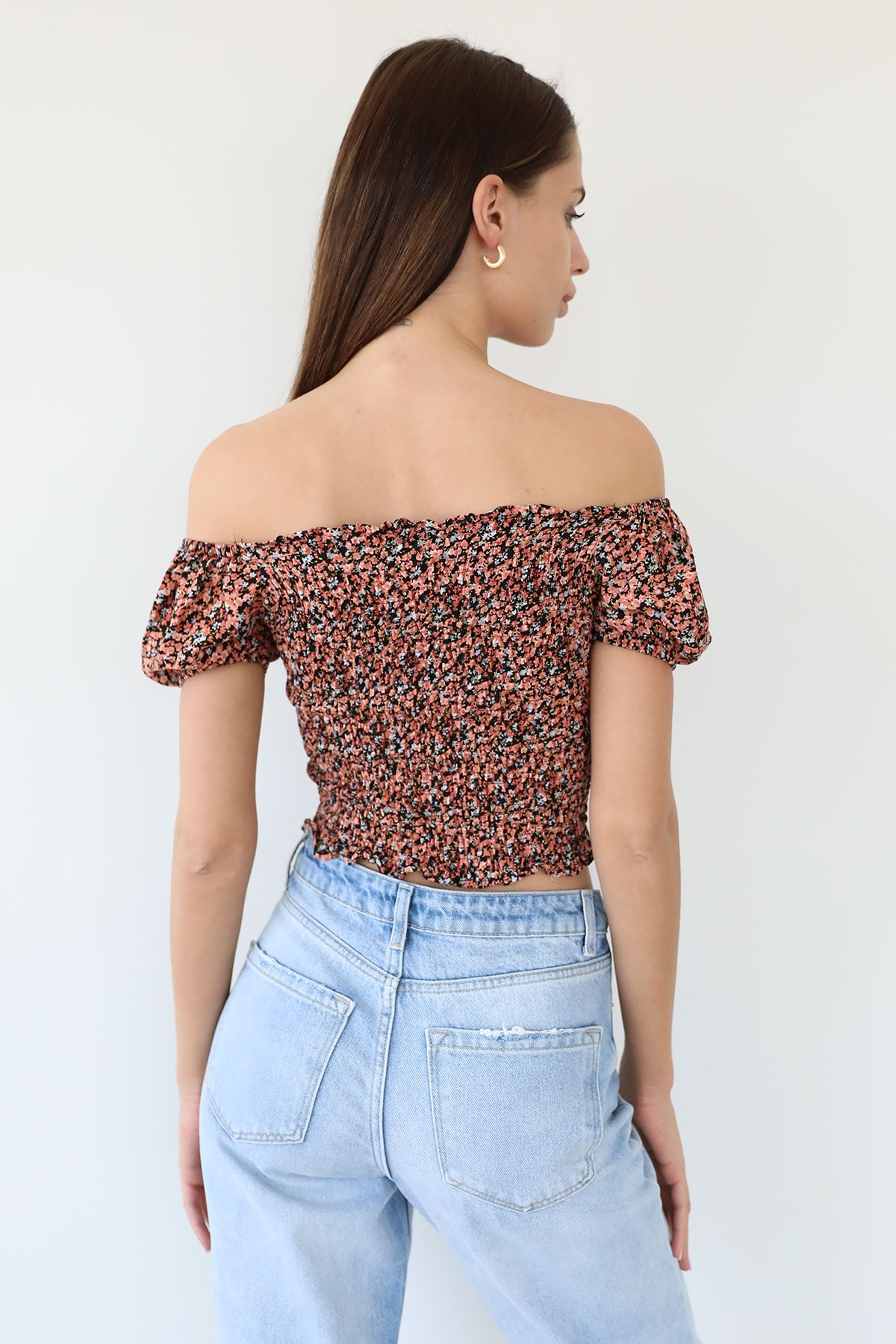 Çiçek Desen Gipeli Bluz-Kiremit