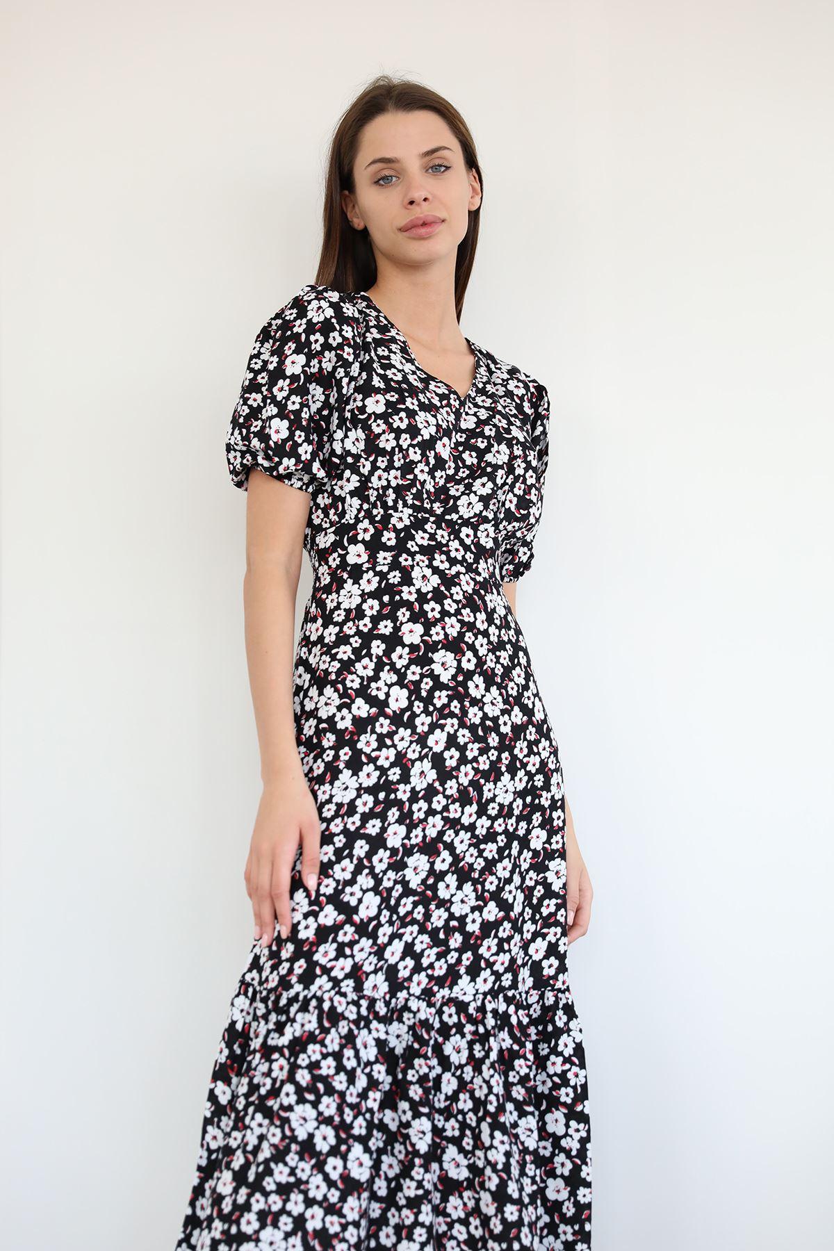 Çiçek Desen Fırfırlı Elbise-Siyah