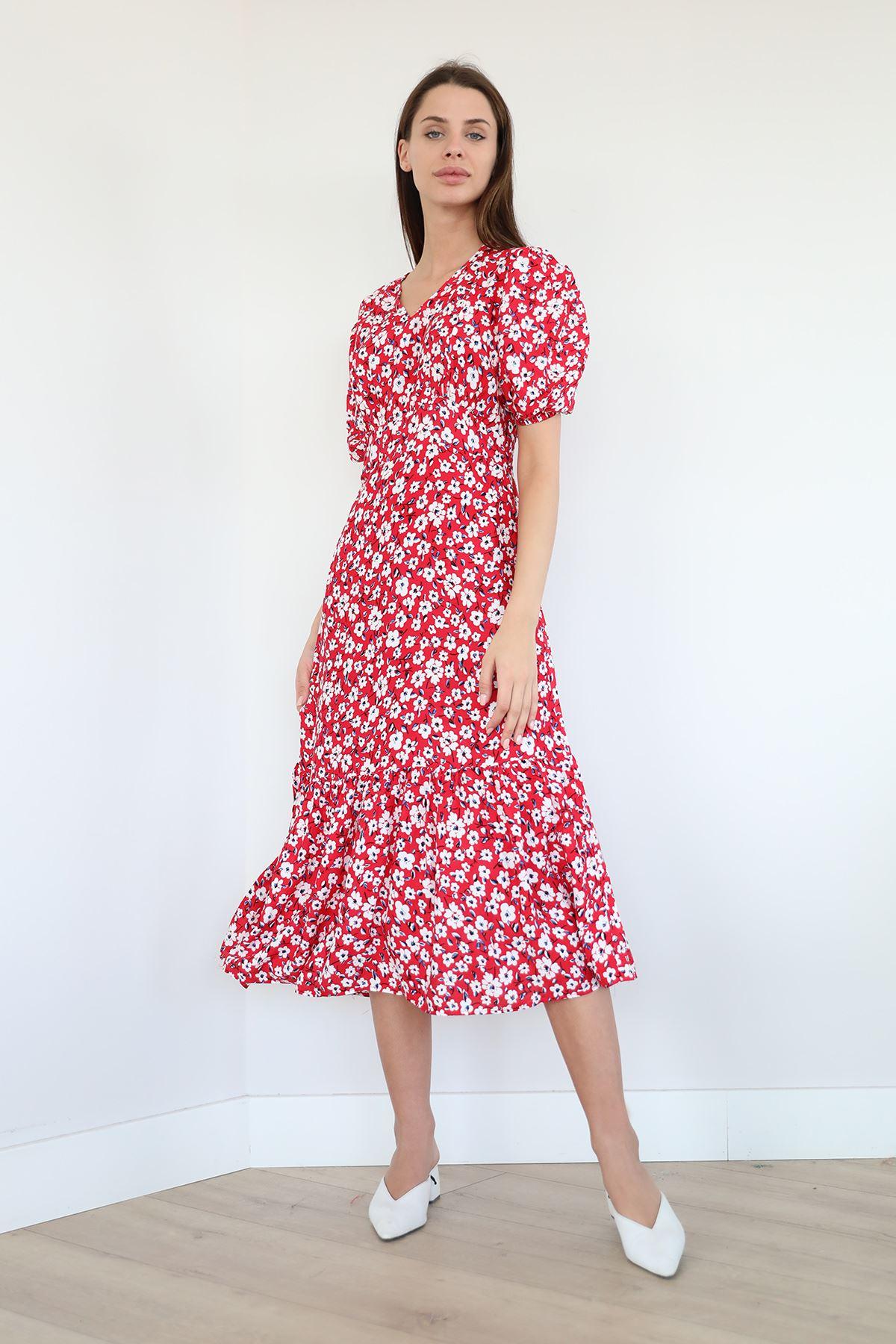 Çiçek Desen Fırfırlı Elbise-Kırmızı