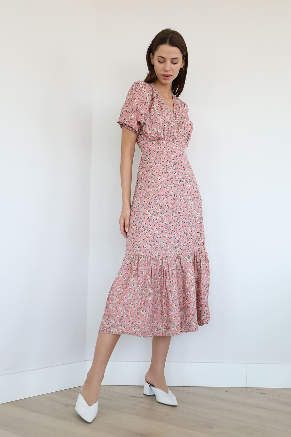 Çiçek Desen Fırfırlı Elbise-Gül Kurusu