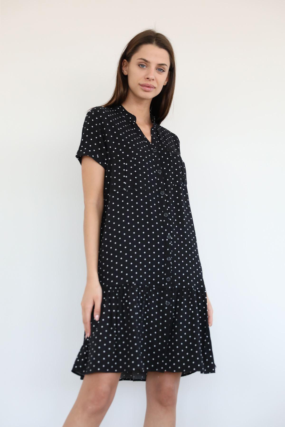 Puantiye Desen Salaş Elbise-Siyah