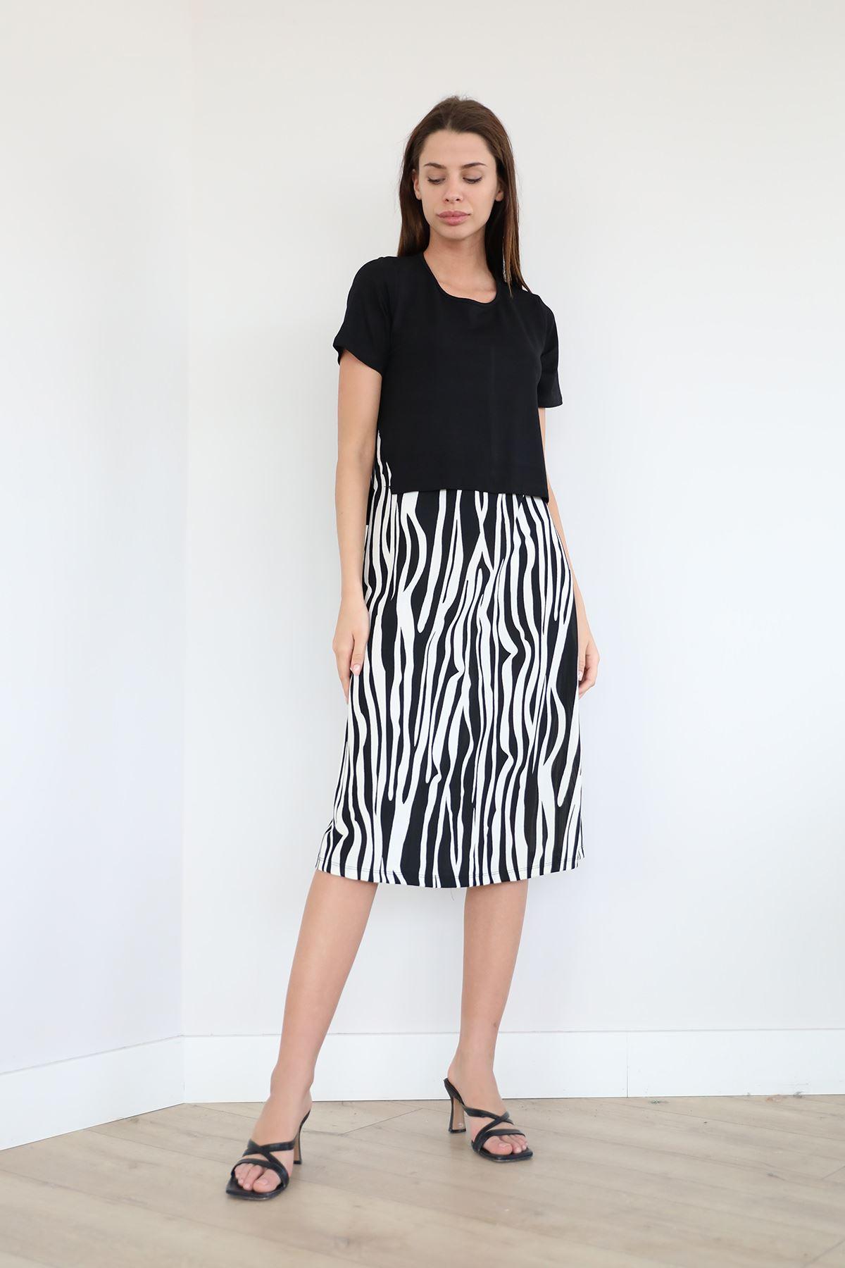 Zebra Desen Kısa Kol Elbise-Siyah