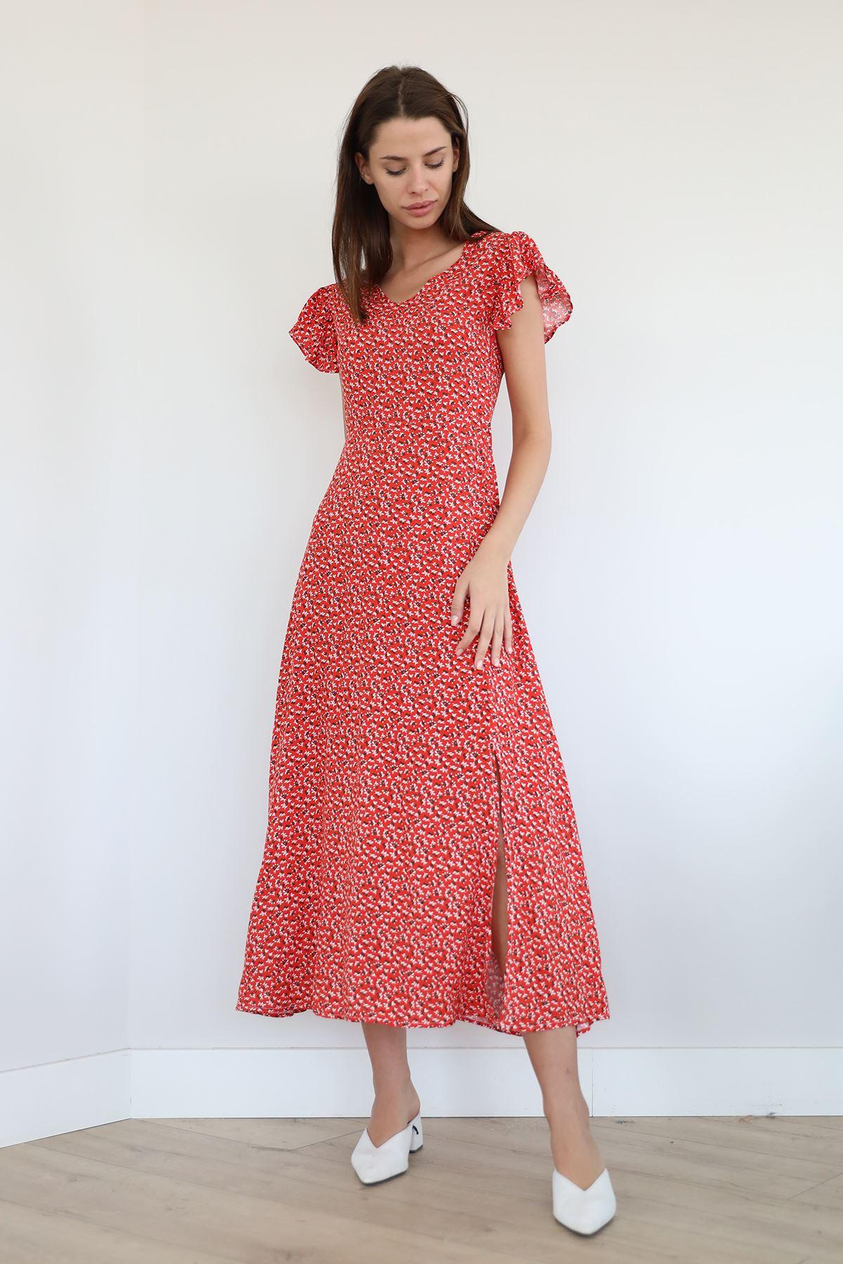 V Yaka Uzun Elbise-Kırmızı