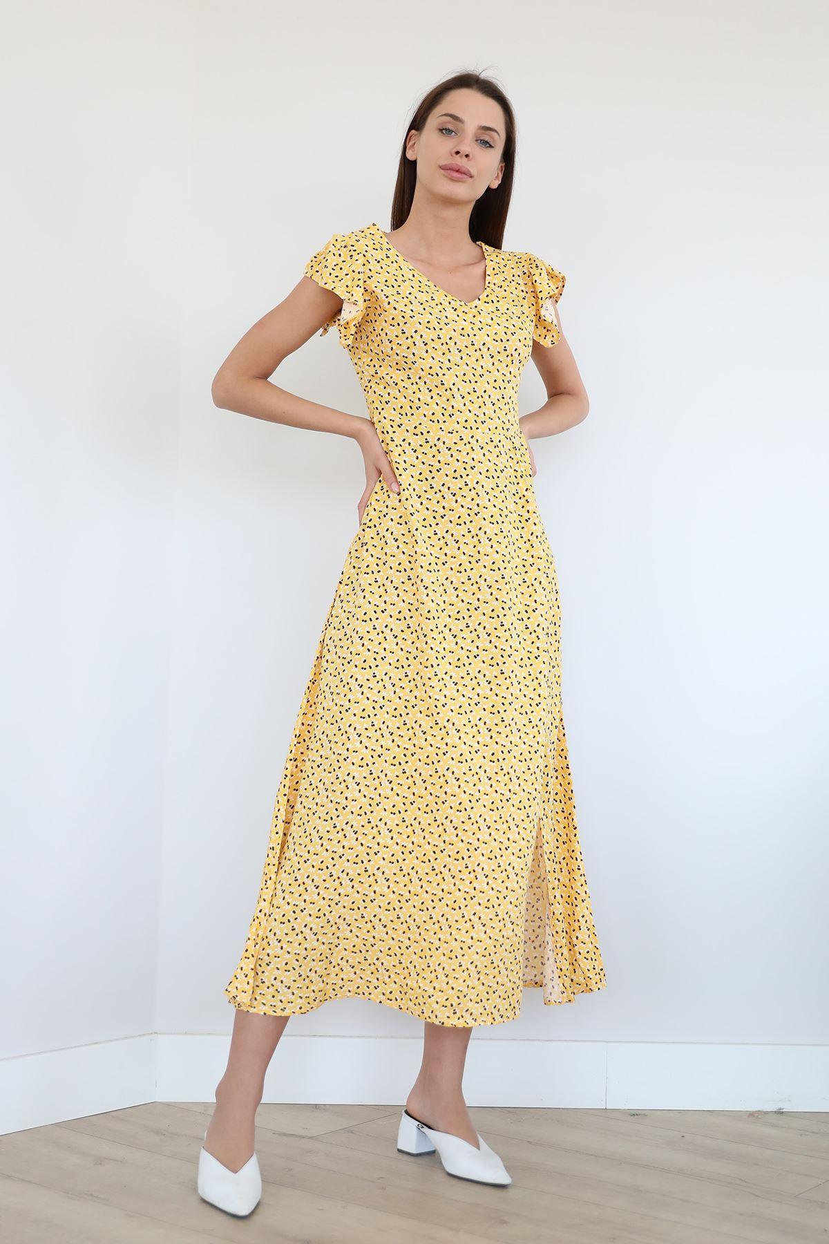 V Yaka Uzun Elbise-Sarı